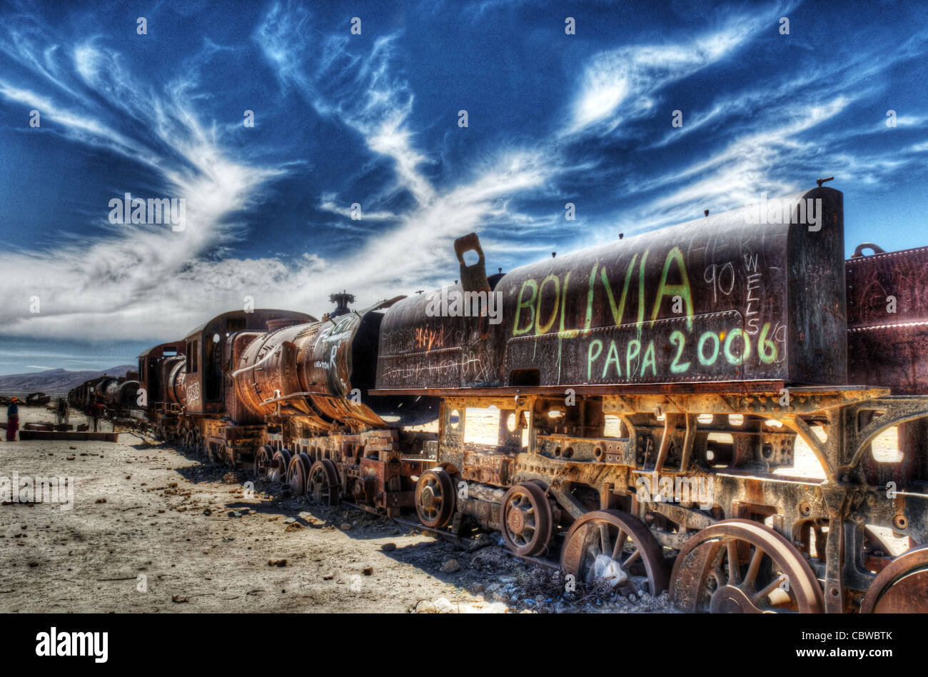 Disused steam trains abandoned in the desert near Uyuni in Bolivia - Stock Image