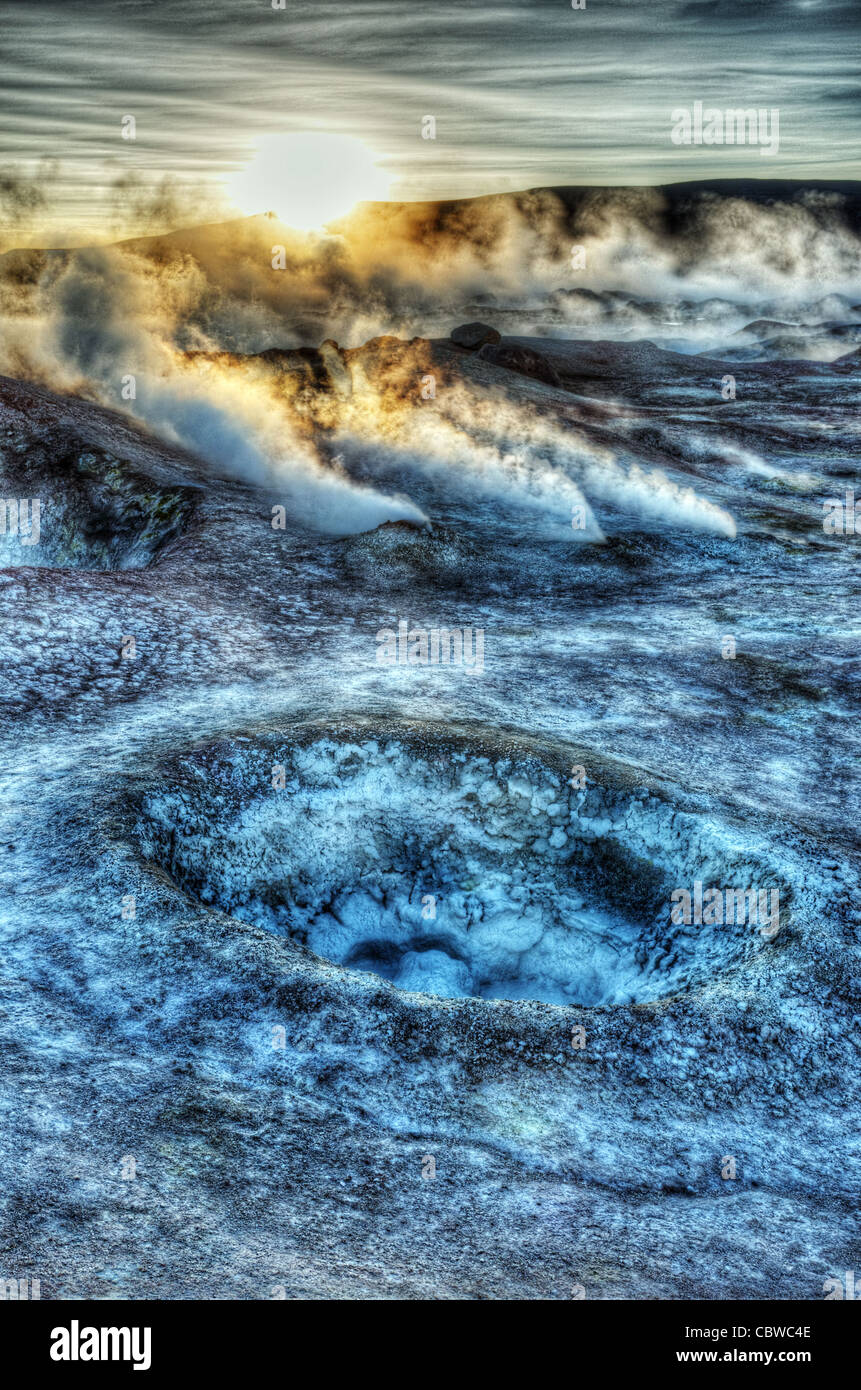 Fumaroles and strange landscapes at Sol de Manana geothermal field in Bolivia near the Bolivia/Chile border - Stock Image