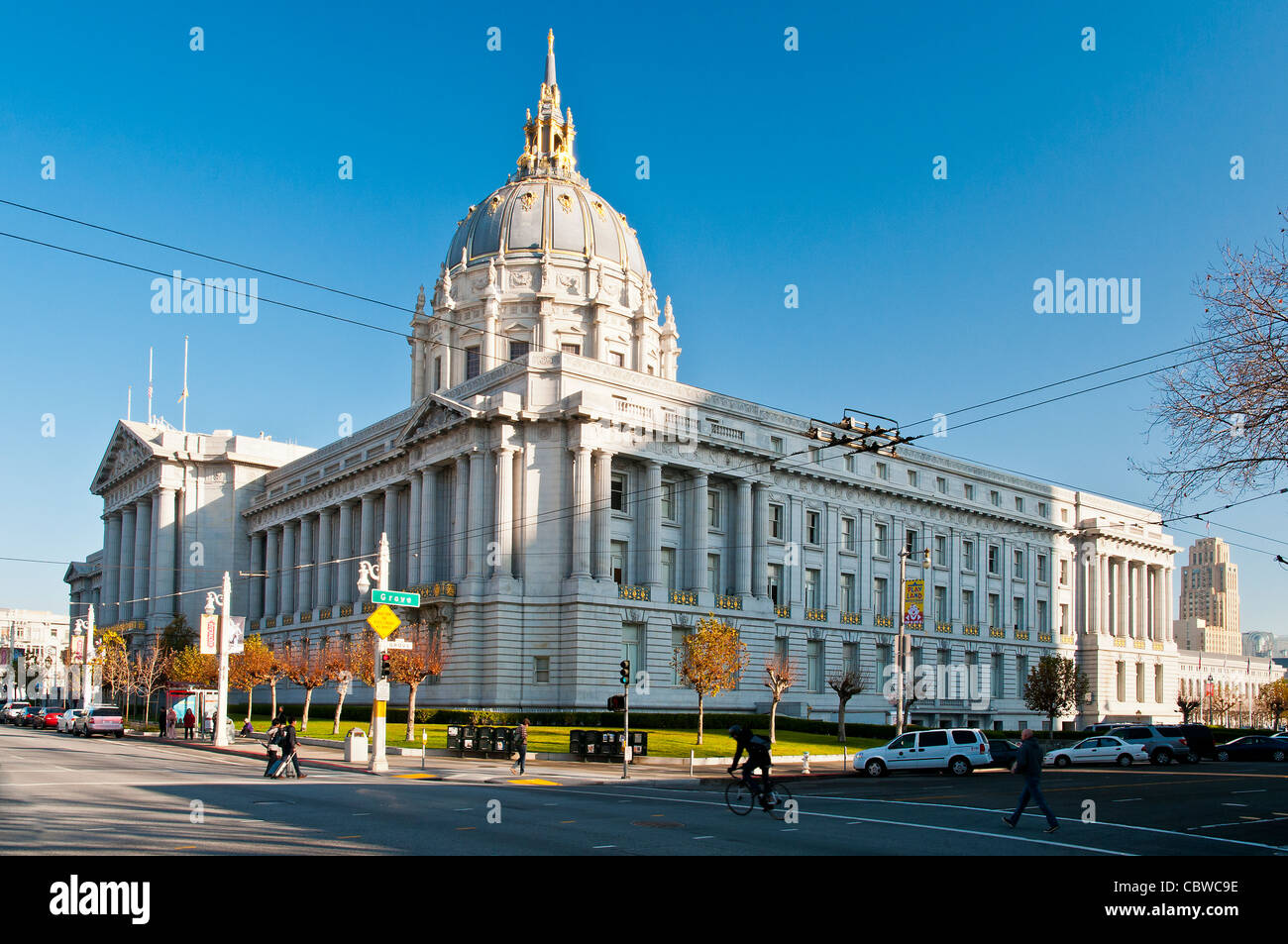 City Hall at Civic Center Plaza, San Francisco, California, USA - Stock Image