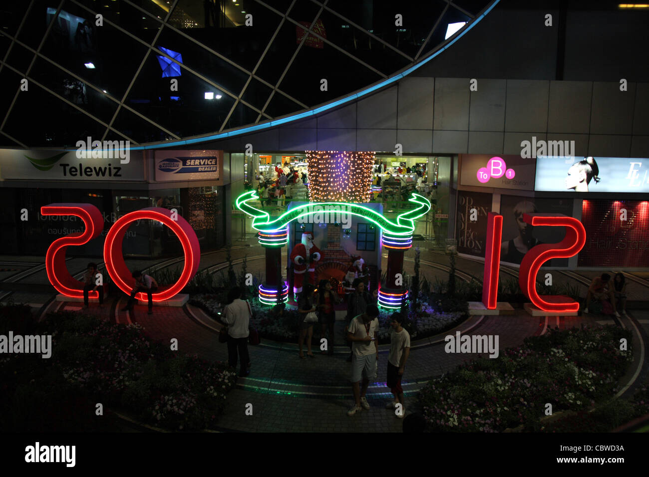2012 new year theme at mbk shopping mall in bangkok stock image