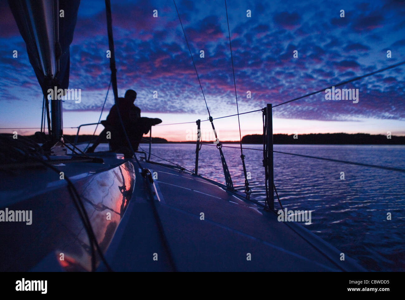 taken at the evening on sailing yacht - Stock Image