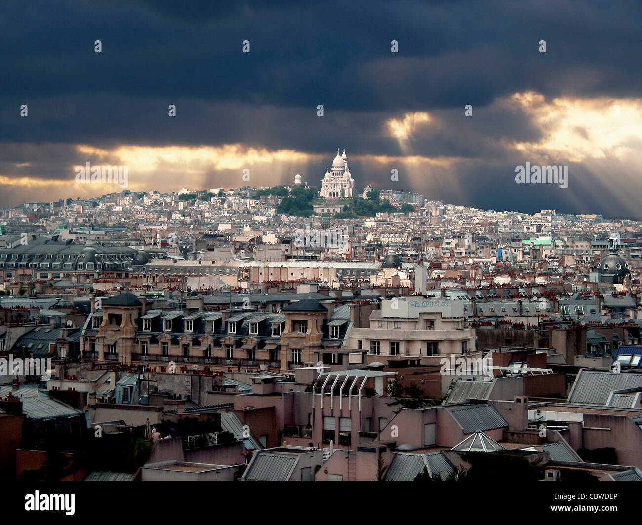 Paris, France, Europe - in the evening light with storm clouds - Stock Image