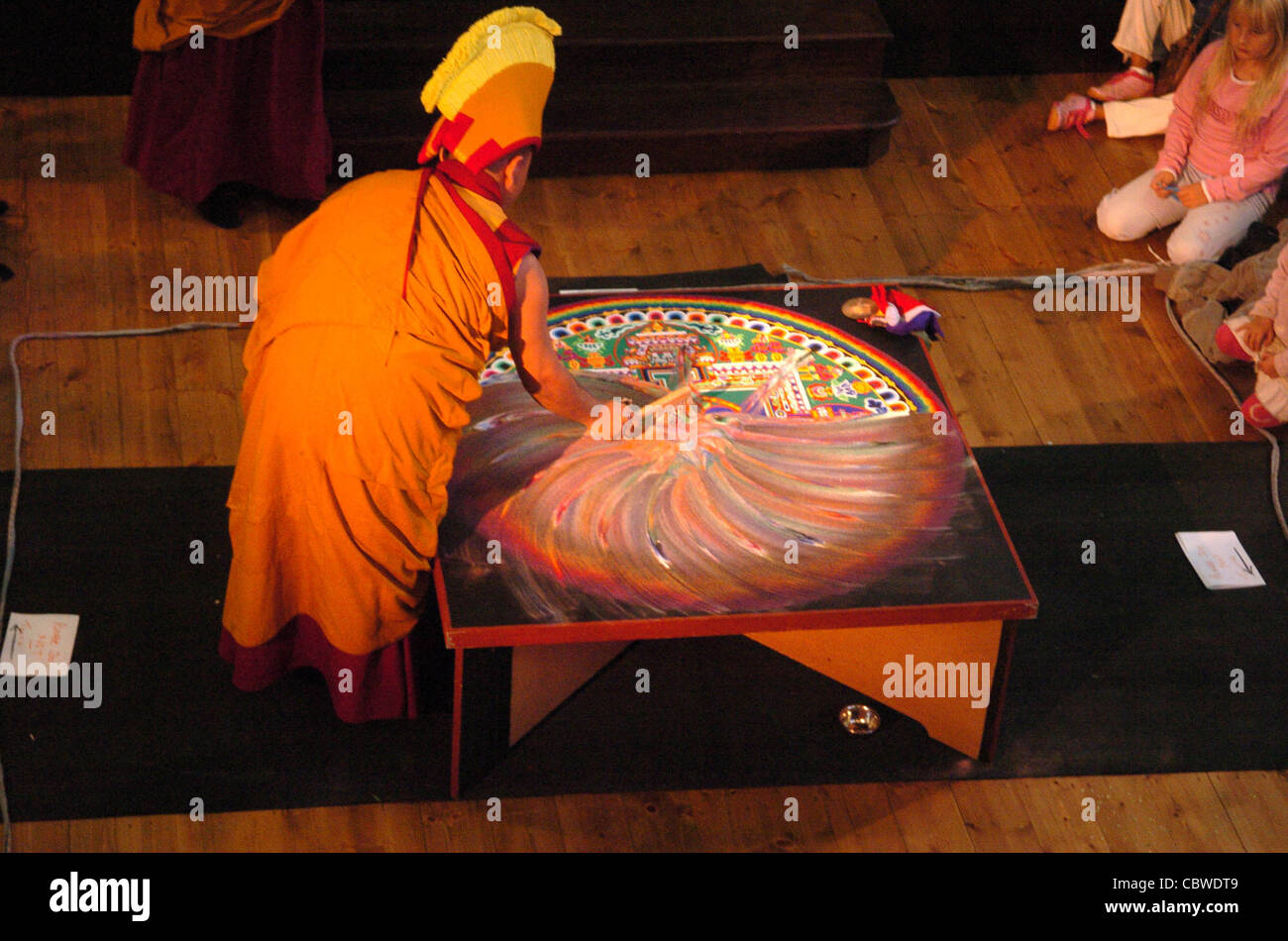 The completed Chenrezig Sand Mandala created by Tibetan monks at the Unitarian Church is destroyed during Sacred - Stock Image