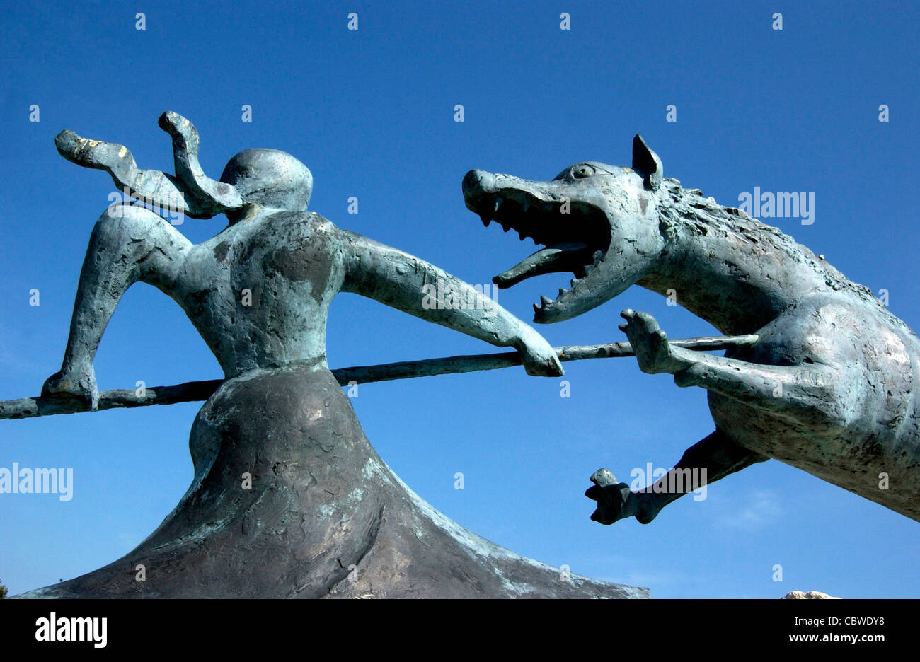Sculpture of Beast of Gevaudan werewolf or wolf at Auvers, Haute Loire, Auvergne, France, Europe - Stock Image