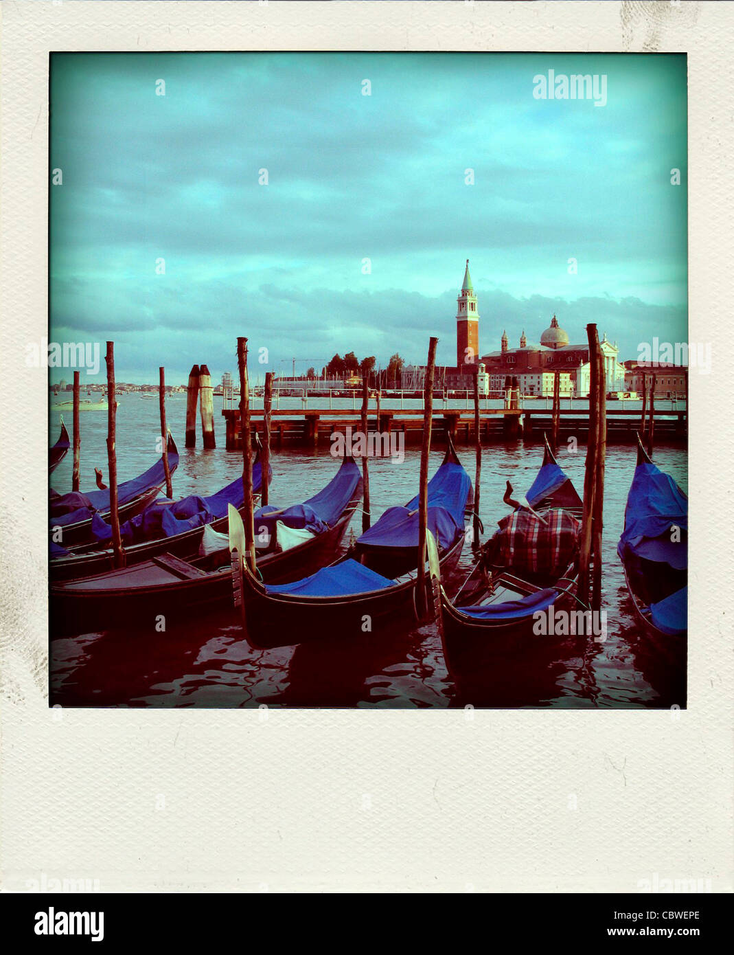 Vintage polaroid photo of Gondolas in Venice, Italy, Europe - Stock Image
