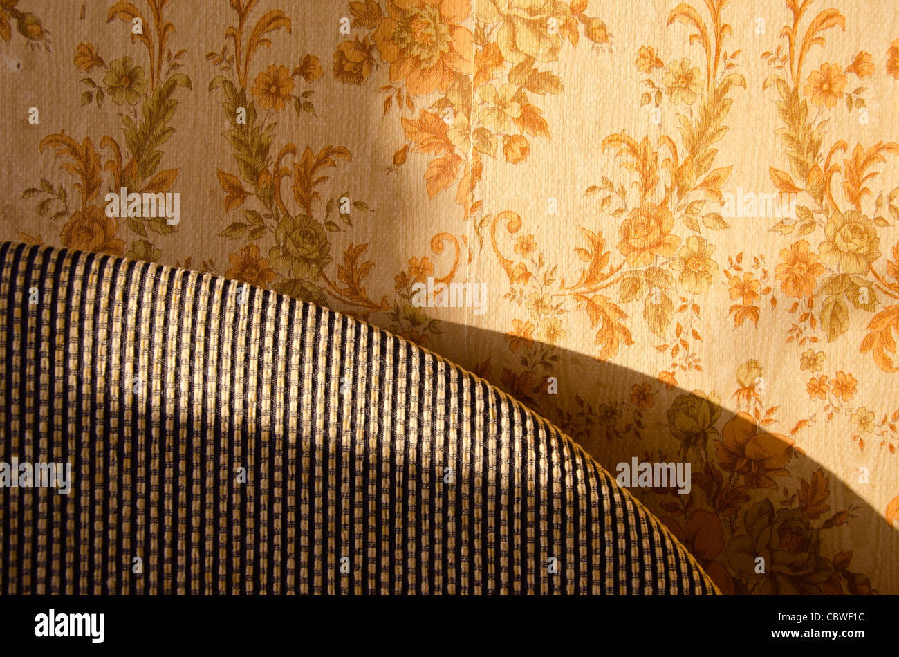 Old Home Interior Design Part Of Bed And Wall With Wallpaper Stock Photo Alamy