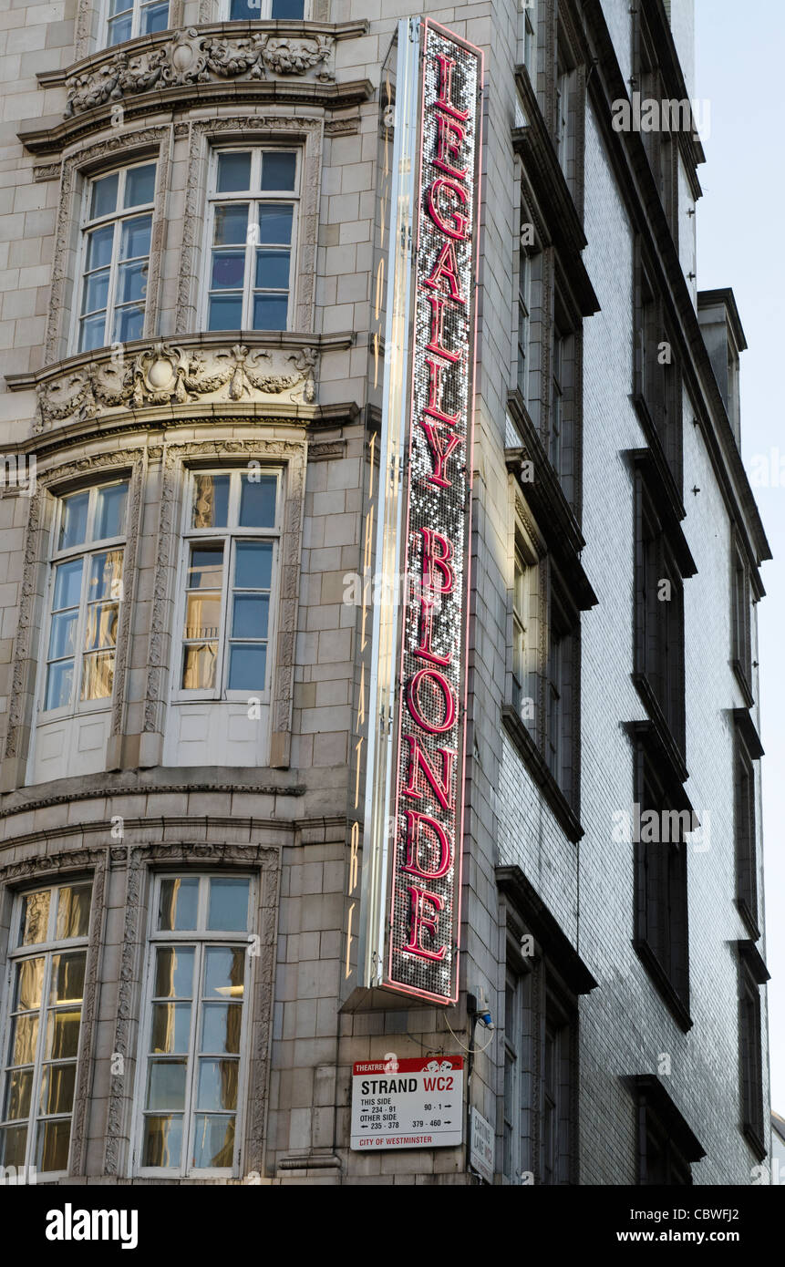 Neon sign for Legally Blonde the musical The strand Westminster London Uk - Stock Image