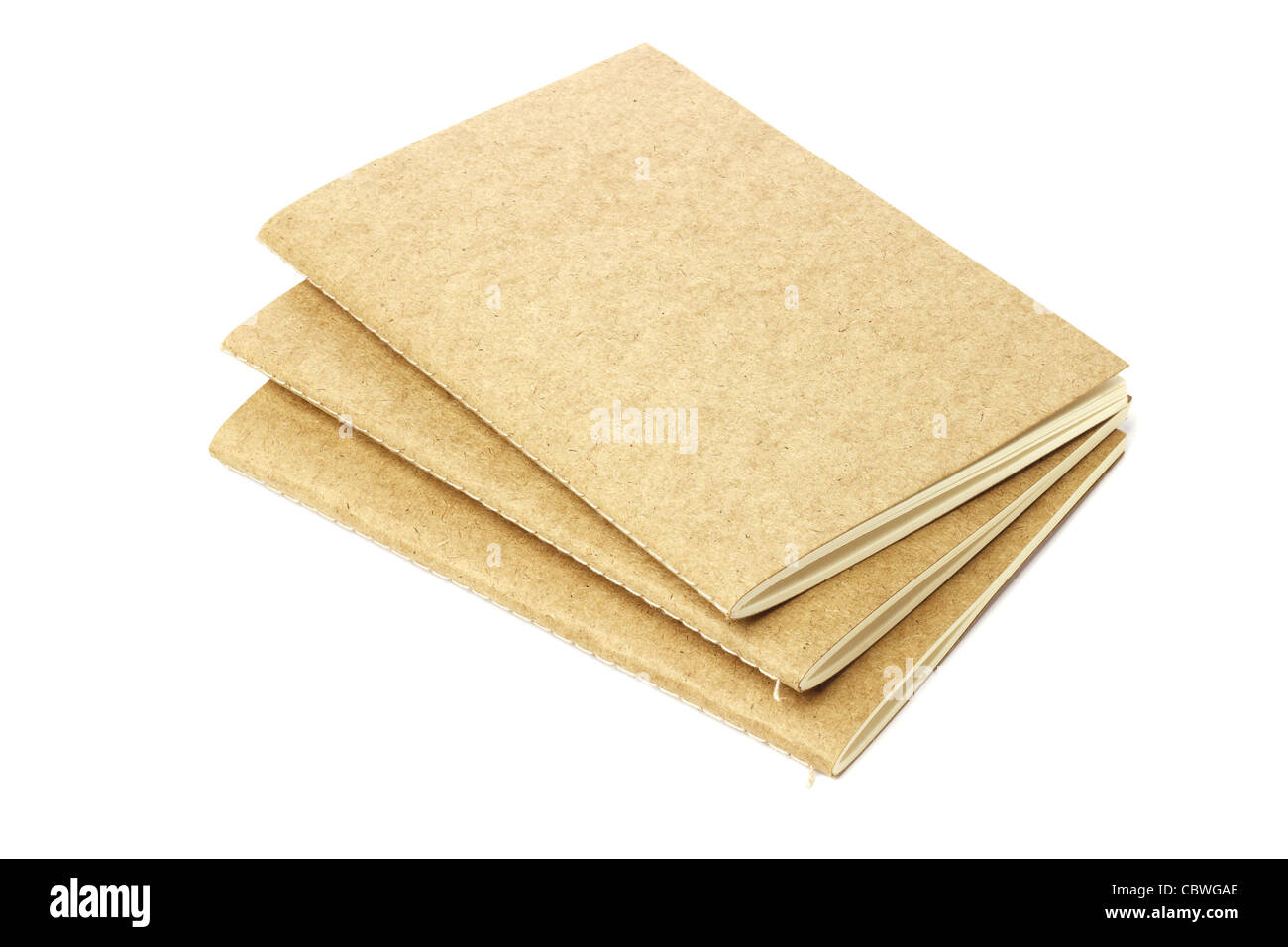 Three Thread Sew Books of Recycled Papers on White Background - Stock Image