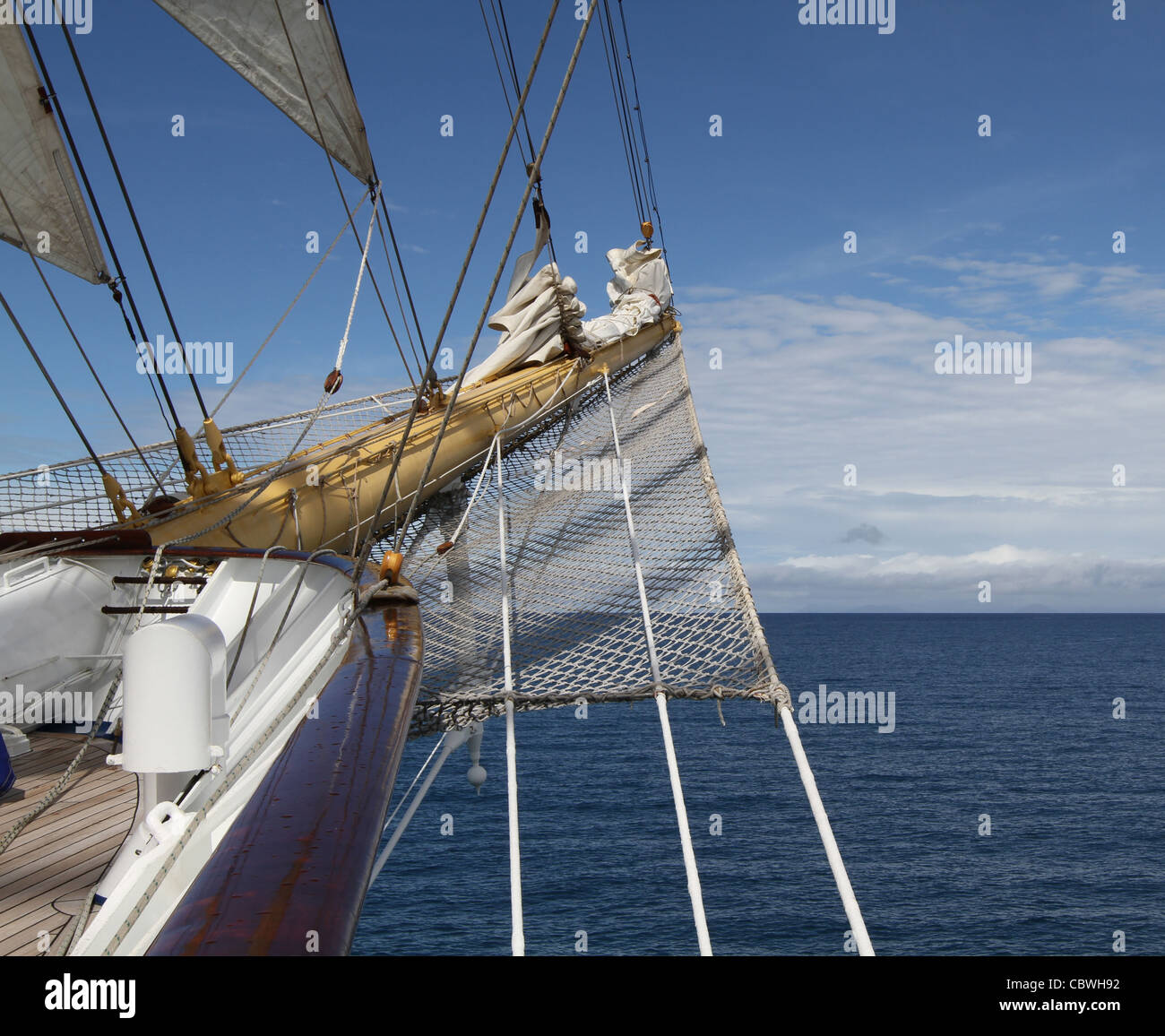 Bowsprit and rigging on square-rigged sailing ship 'Royal Clipper' - Stock Image