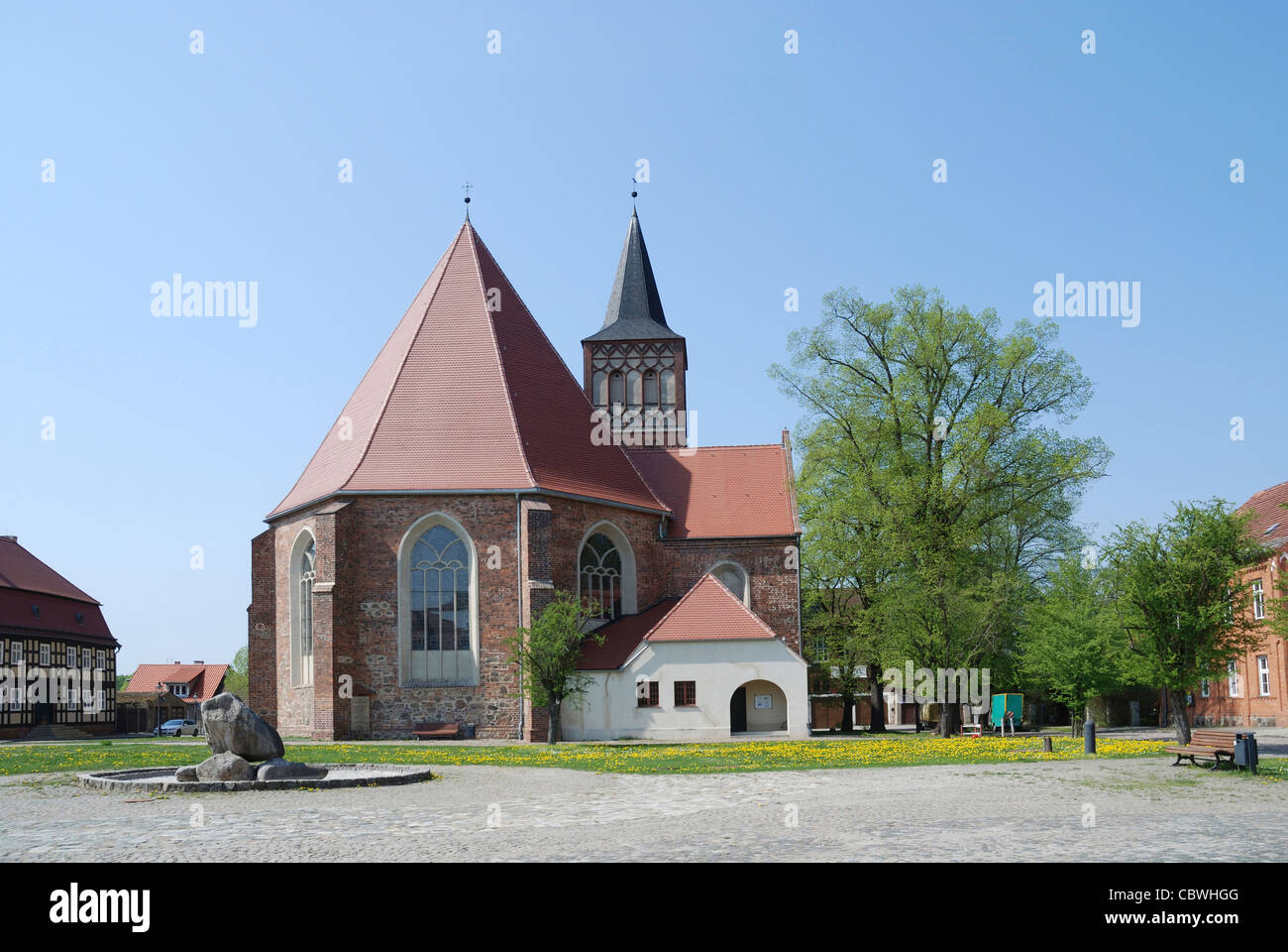 Church Saint Sebastian of Baruth in Brandenburg. - Stock Image