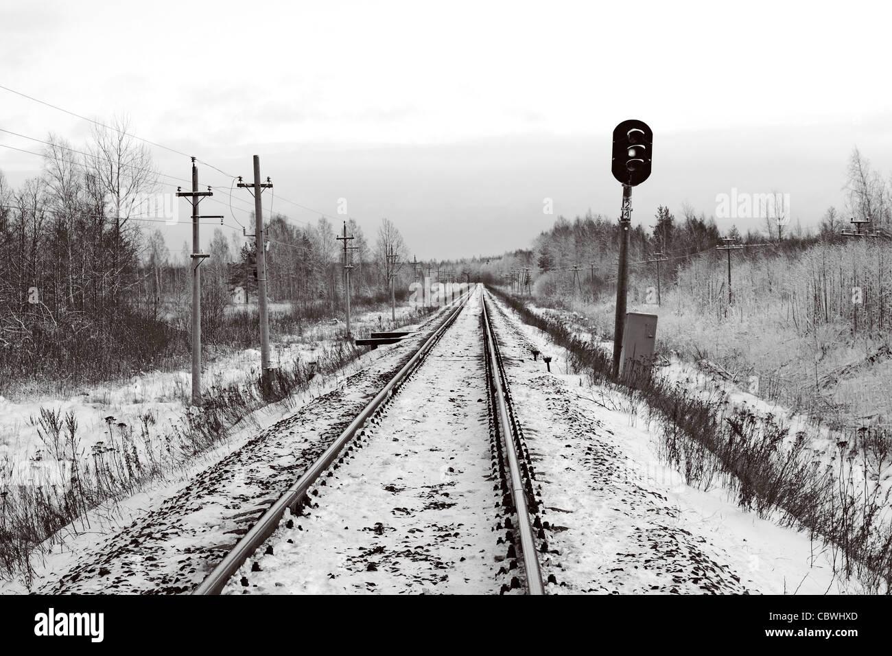 railway semaphore Stock Photo