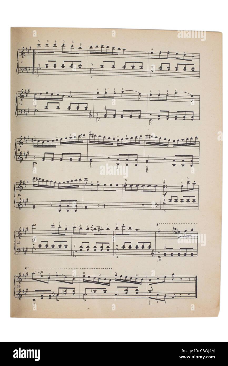 old music sheet isolated on white - Stock Image