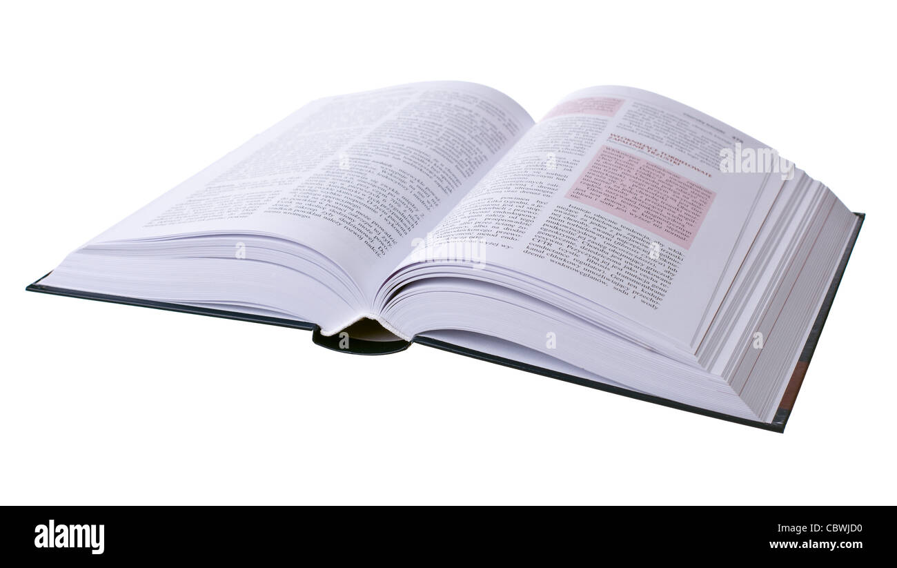 Opened book isolated on white background - Stock Image