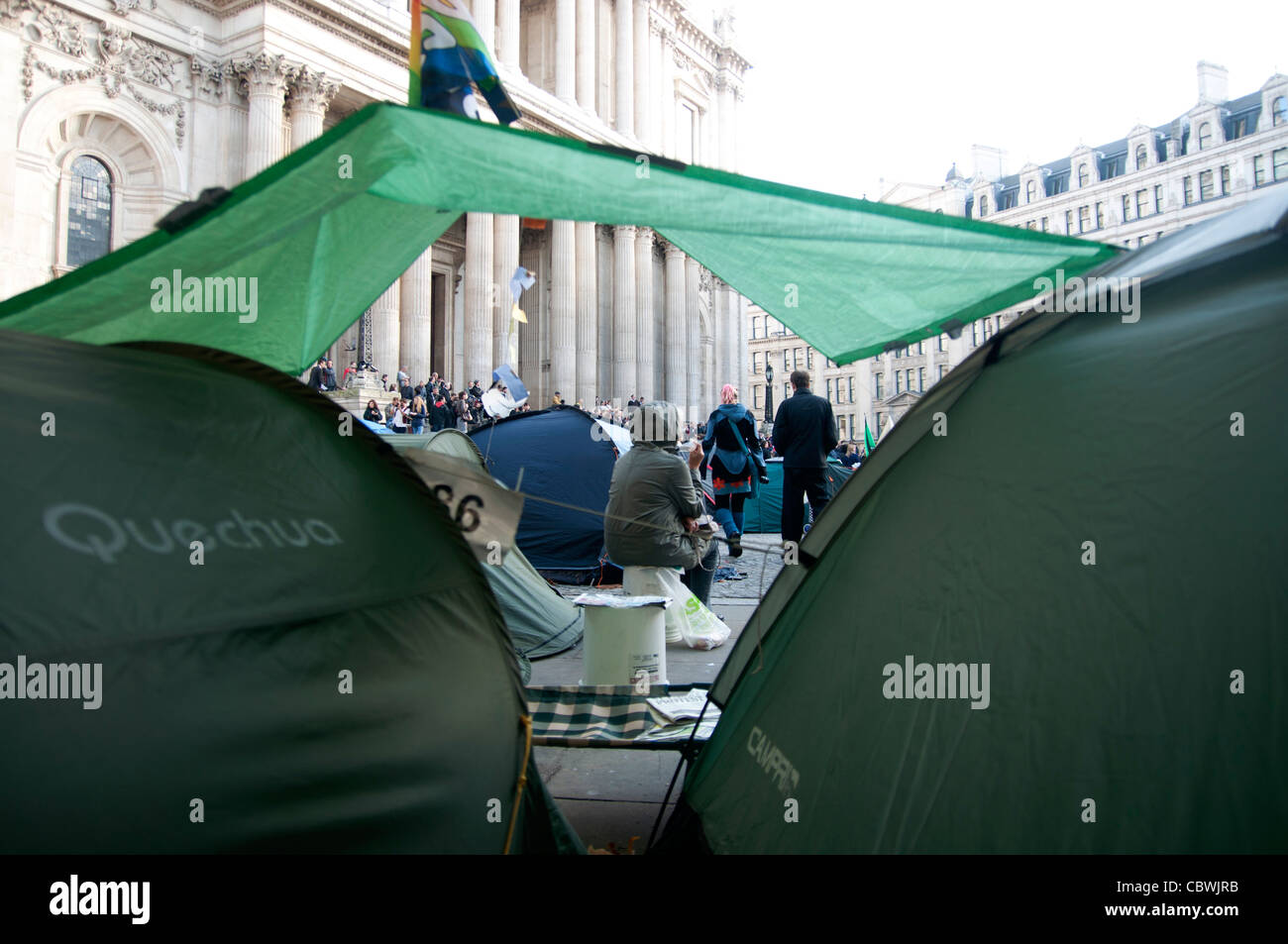 Anti capitalist Demonstration at St pauls Cathedral London England - Stock Image