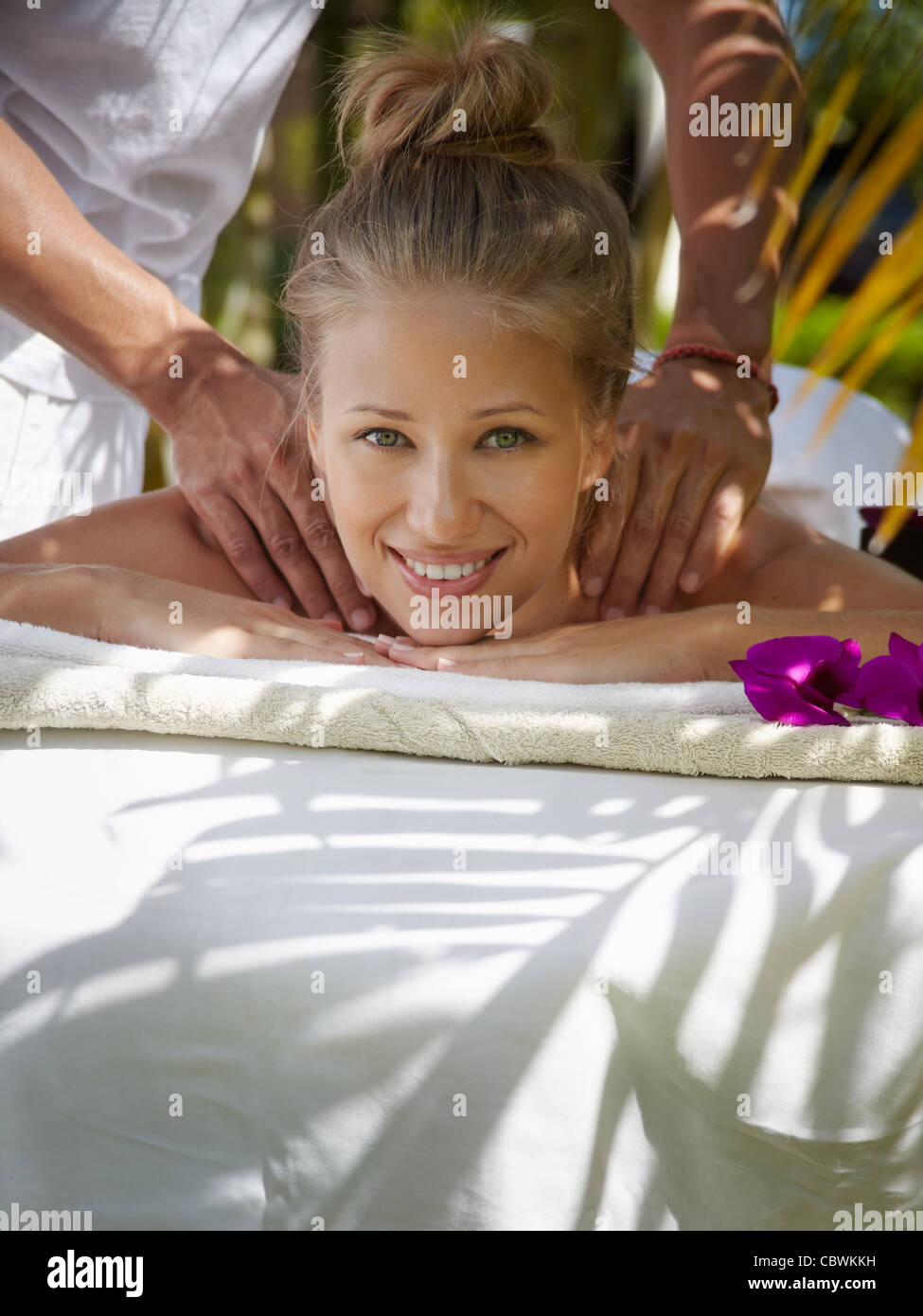 Young Beautiful Blonde Caucasian Woman Gets Massage And Beauty Treatment In Luxury Resort