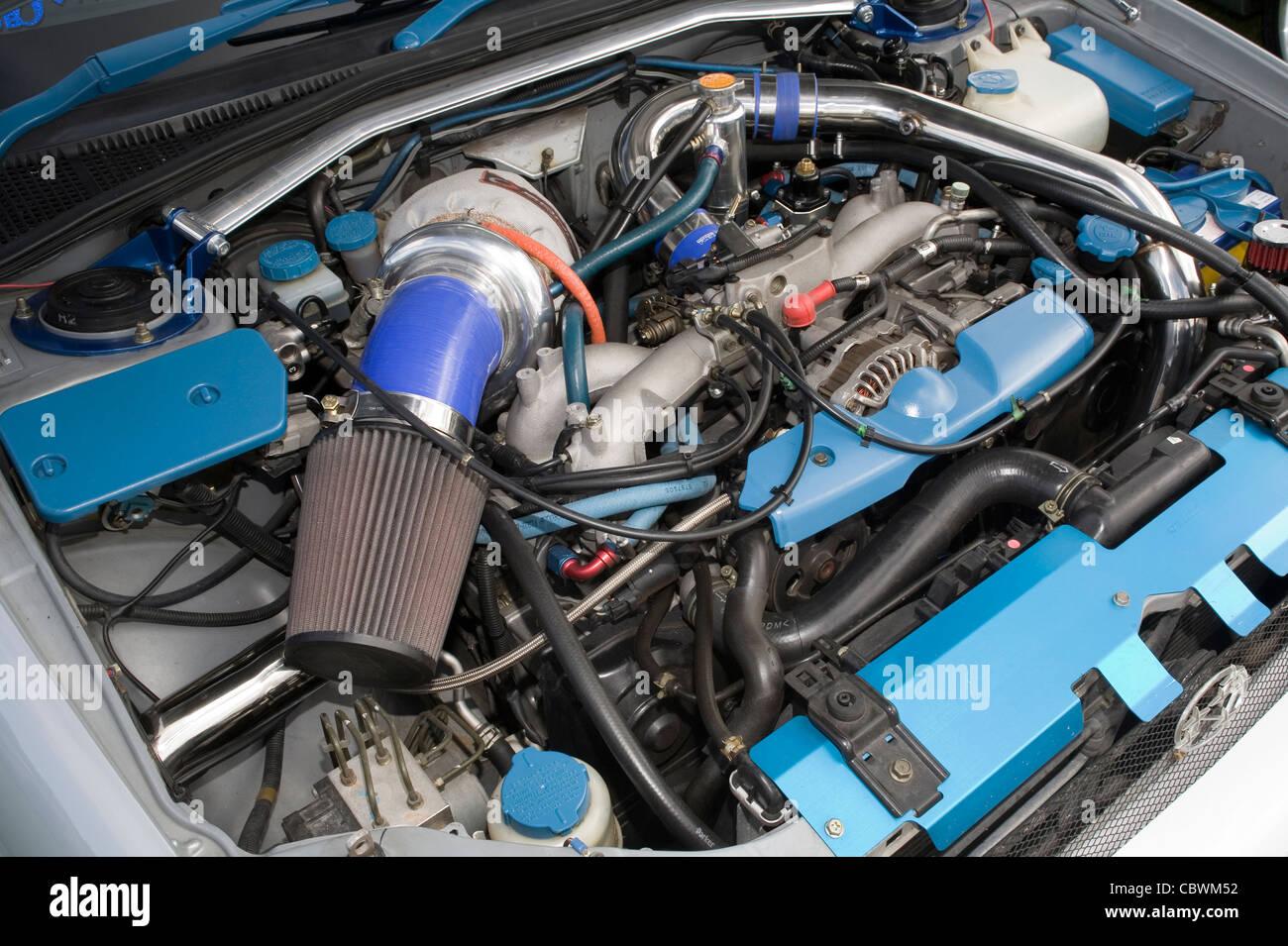 Modified And Custom Subaru Ej 20 Wrx Engine With Large Turbocharger Stock Photo 41746574 Alamy