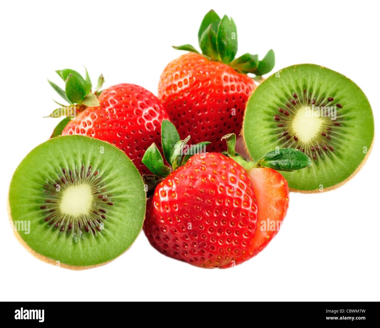 strawberries and kiwi on white background - Stock Image
