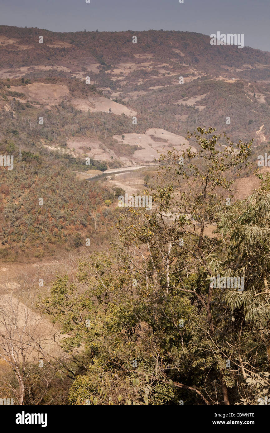 India, Manipur, river winding through parched Manipur Hills - Stock Image
