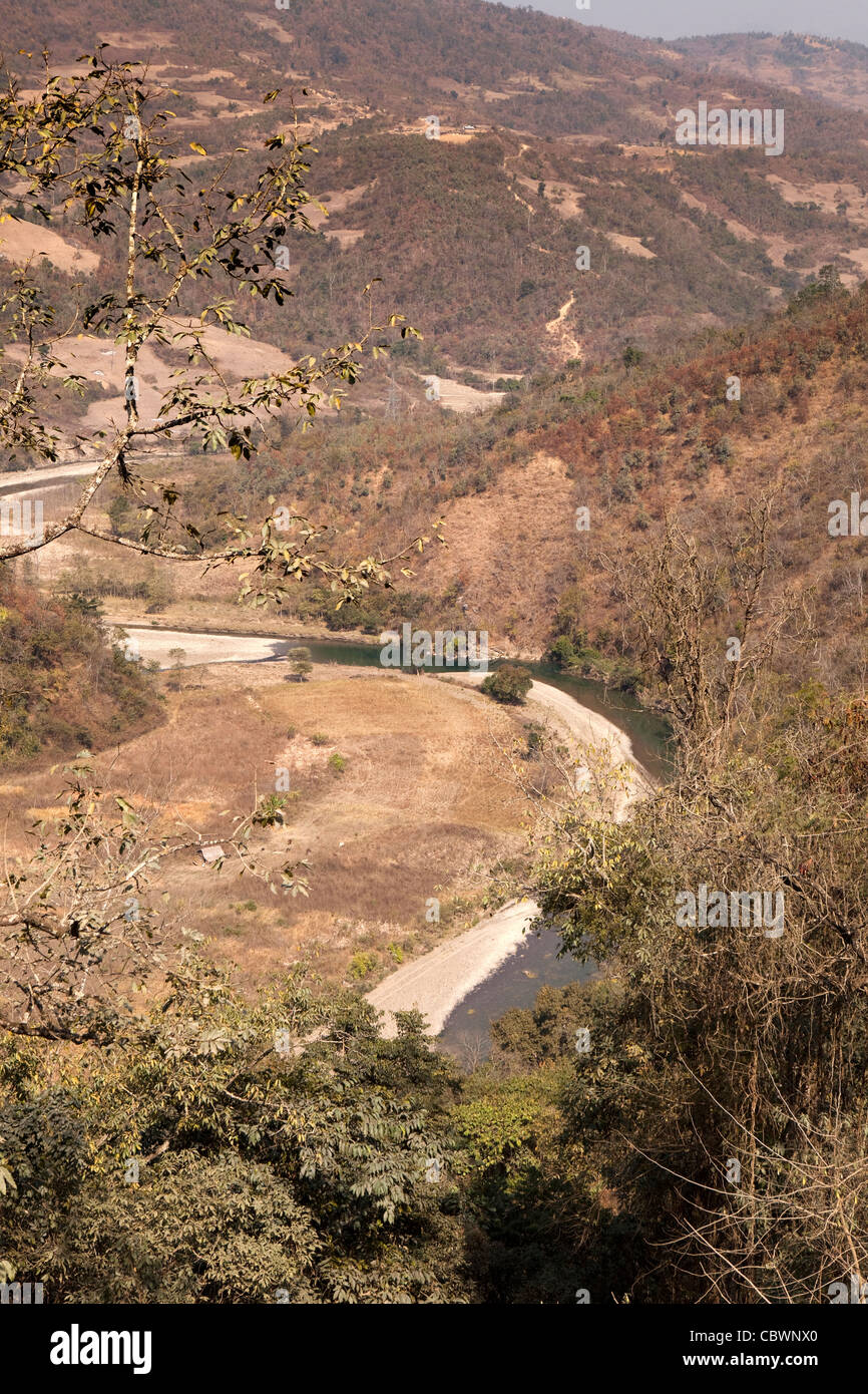 India, Manipur, river winding through parched Manipur Hills in dry season - Stock Image