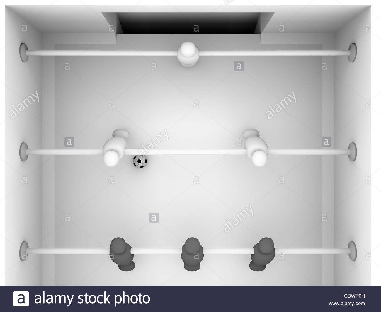 3d render of a foosball table with black and white players - Stock Image