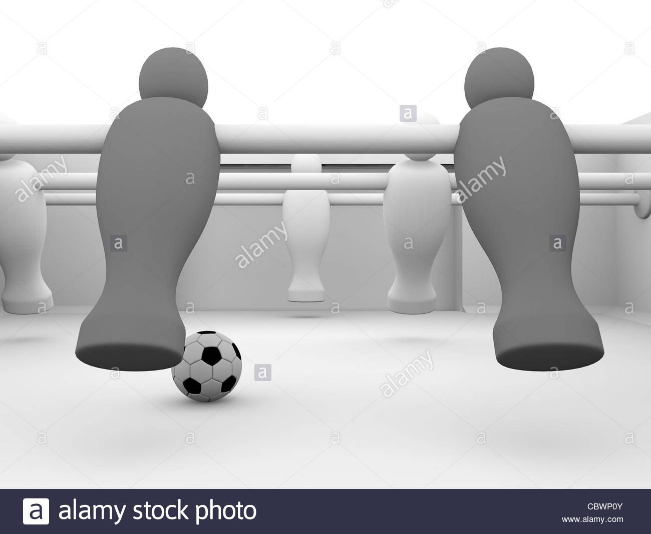 Detailed render of a foosball table with black and white players - Stock Image