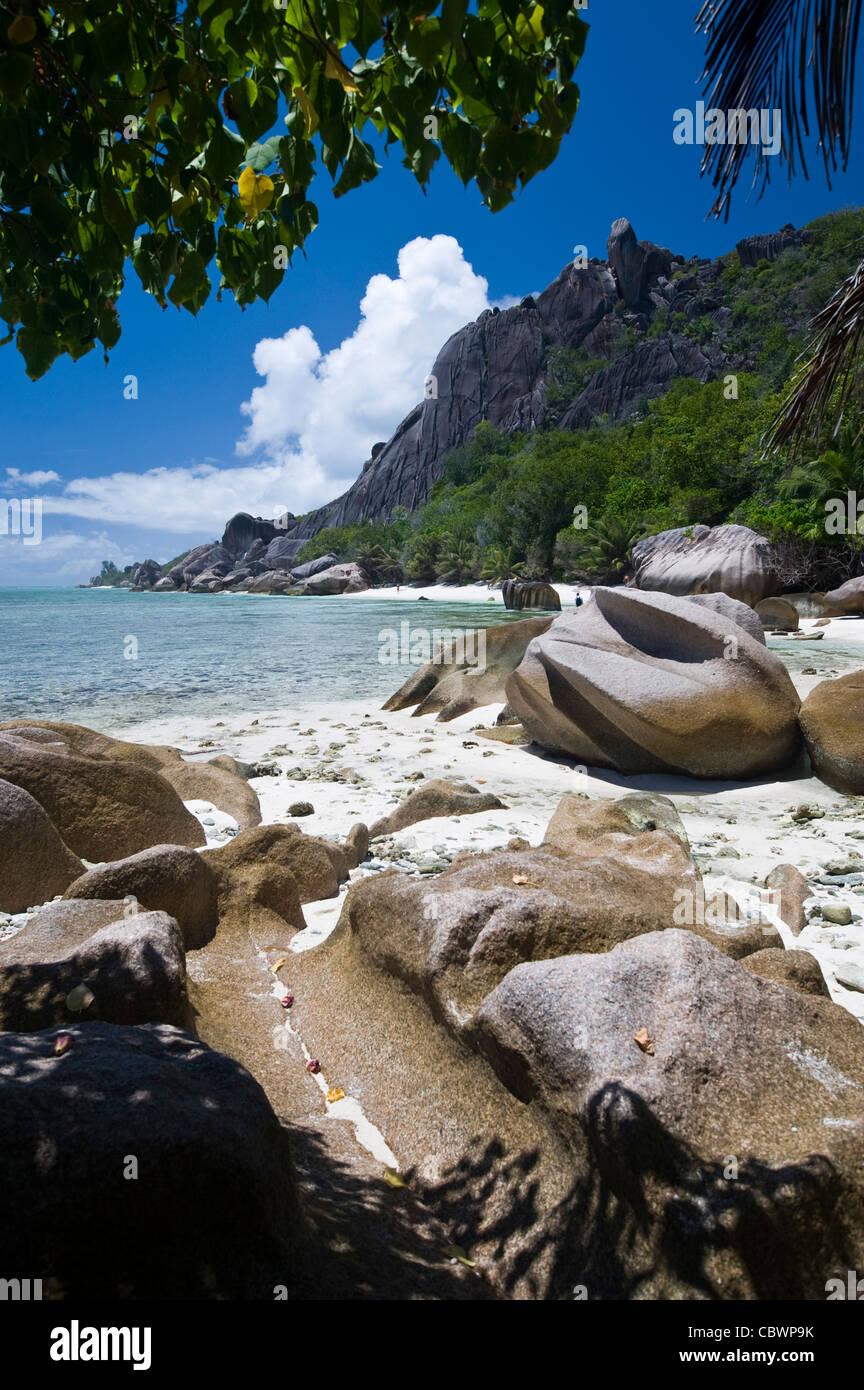 Tropical beach, La Digue, Seychelles - Stock Image