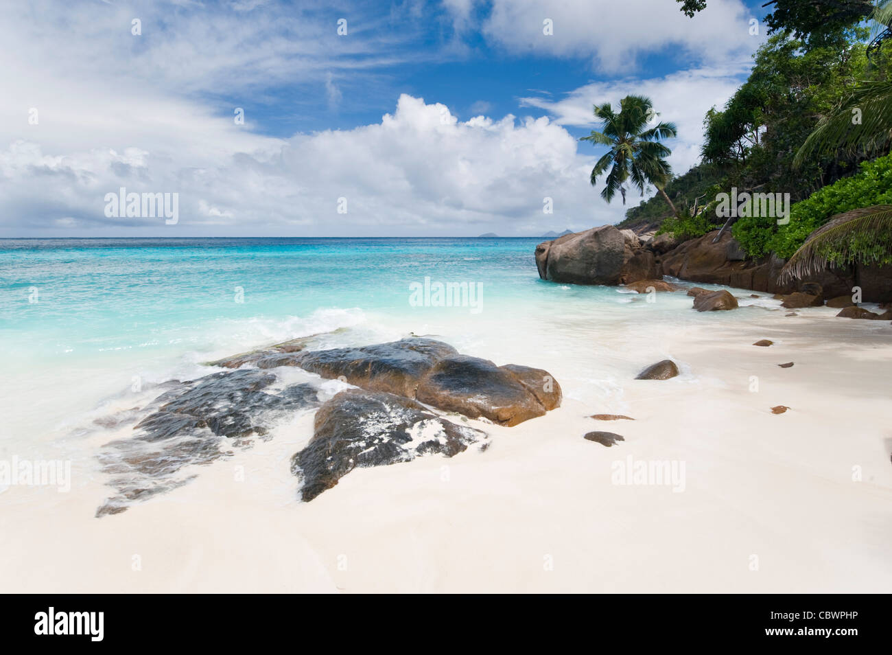 Four Seasons resort beach, Mahe, Seychelles Stock Photo