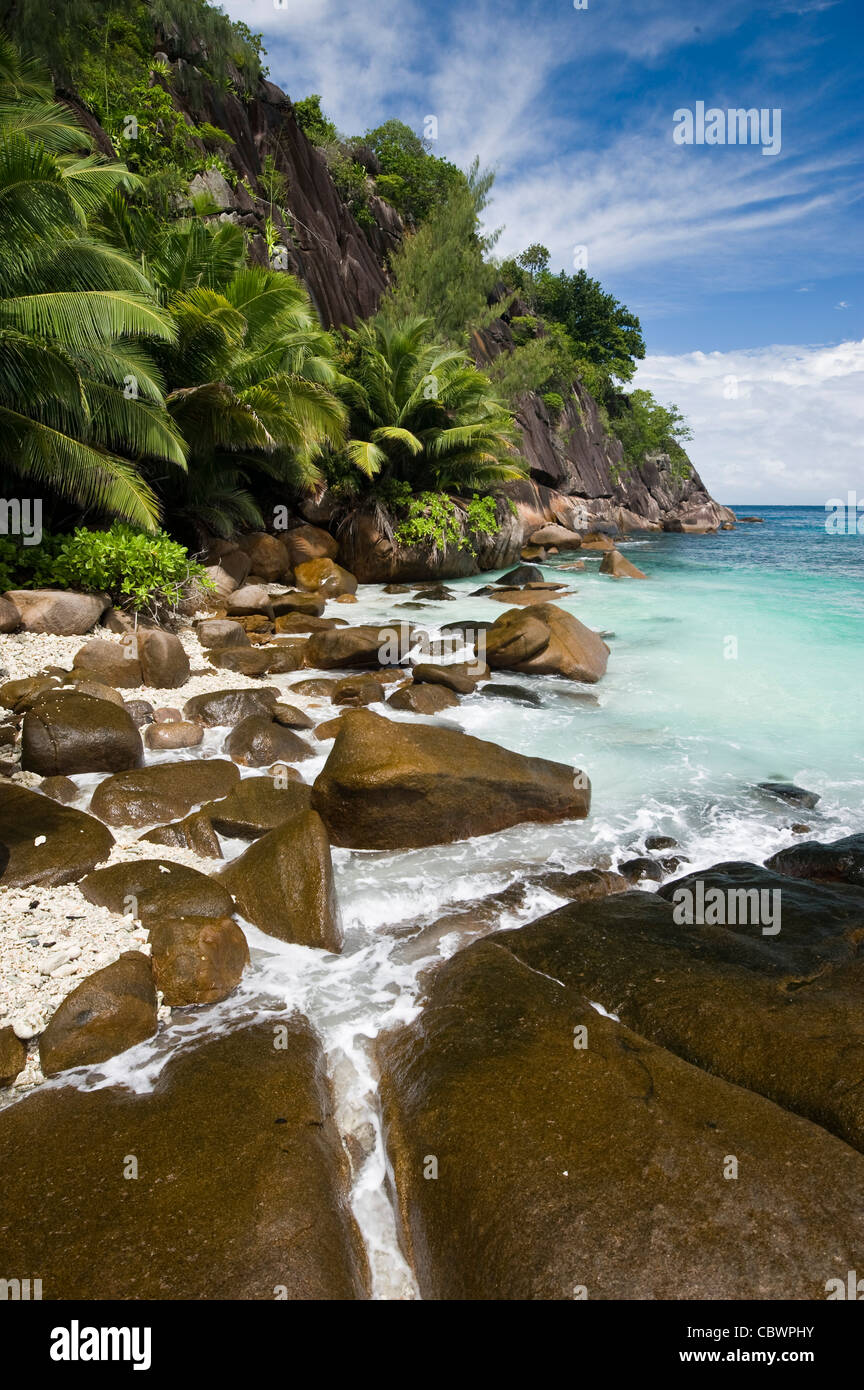 Four Seasons resort beach, Mahe, Seychelles - Stock Image