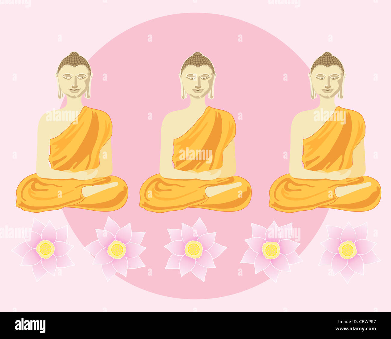 an illustration of a row of buddhas with lotus flowers in front of a big pink sun - Stock Image