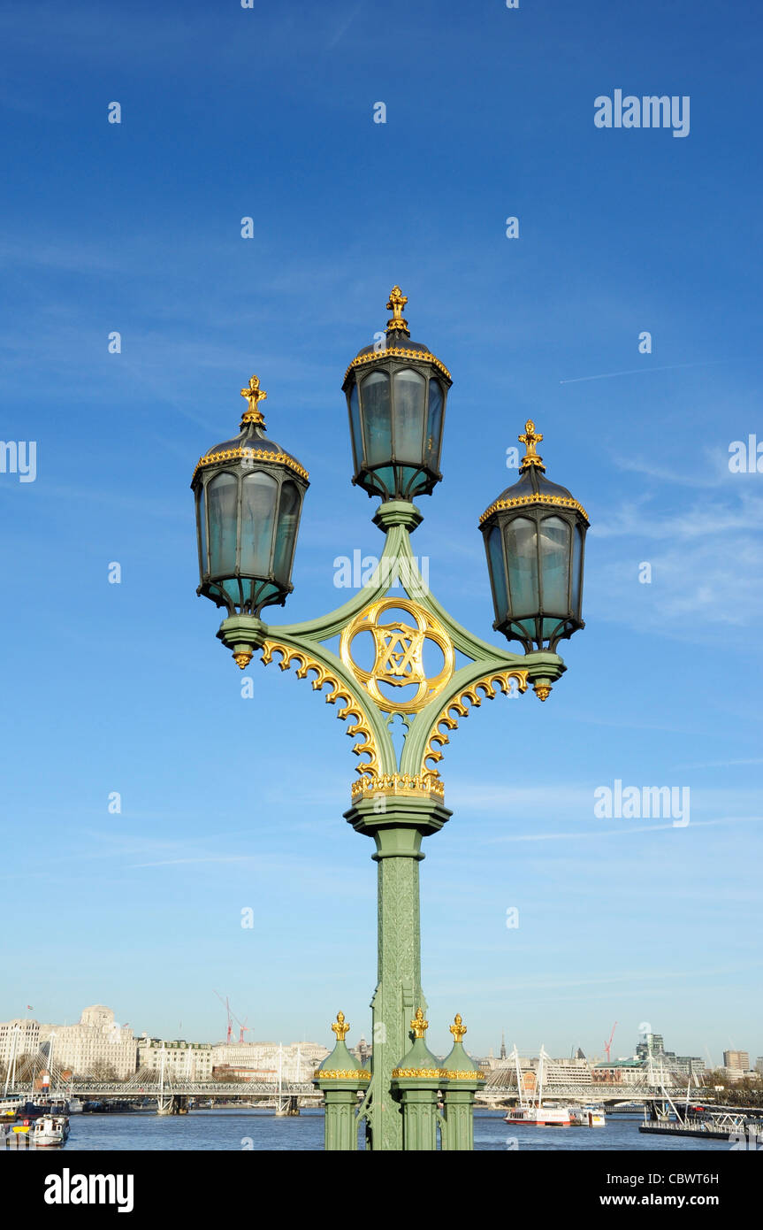 Decorative Lights On Westminster Bridge Over The River Thames Stock Photo Alamy