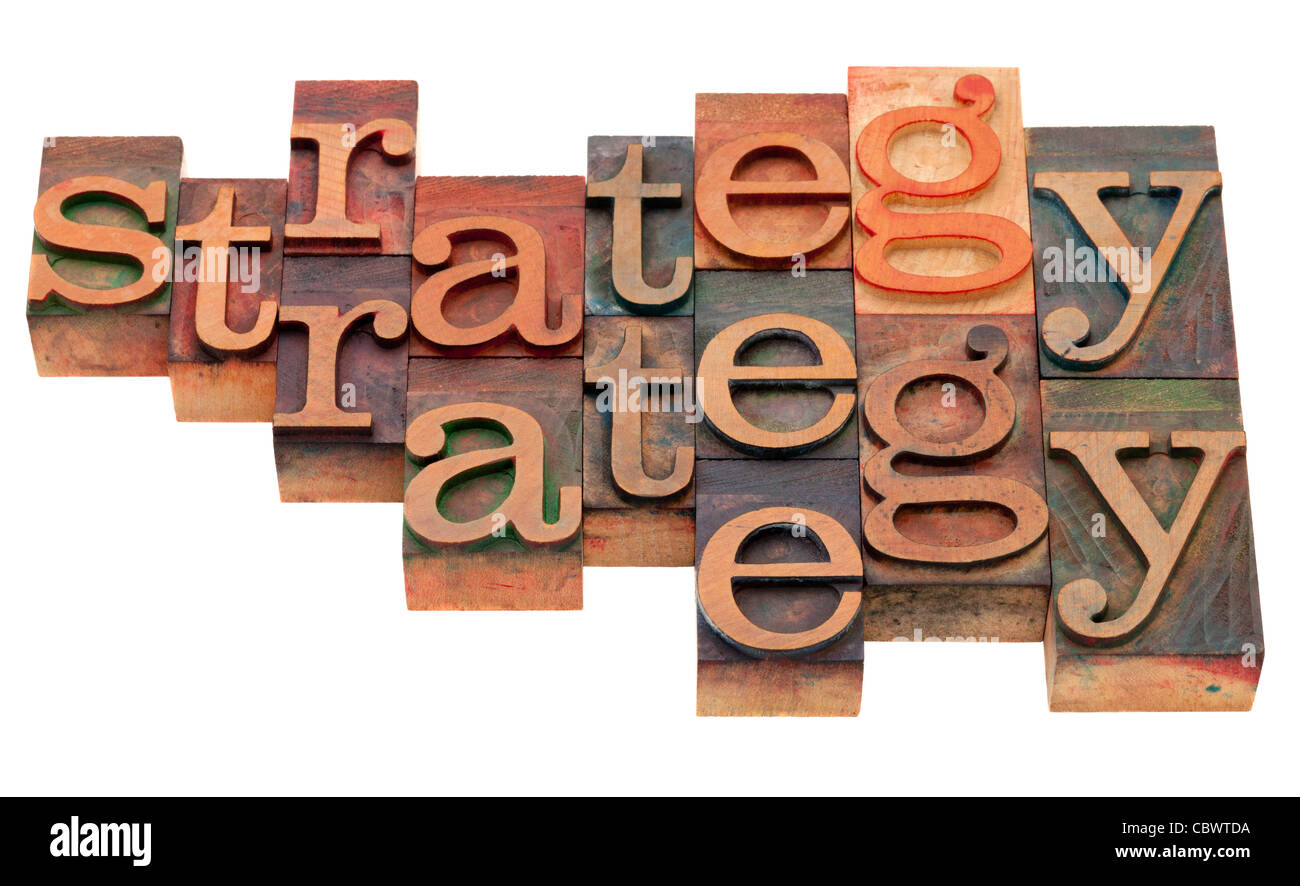 strategy word abstract in vintage wooden letterpress printing blocks, stained by color inks, isolated on white - Stock Image