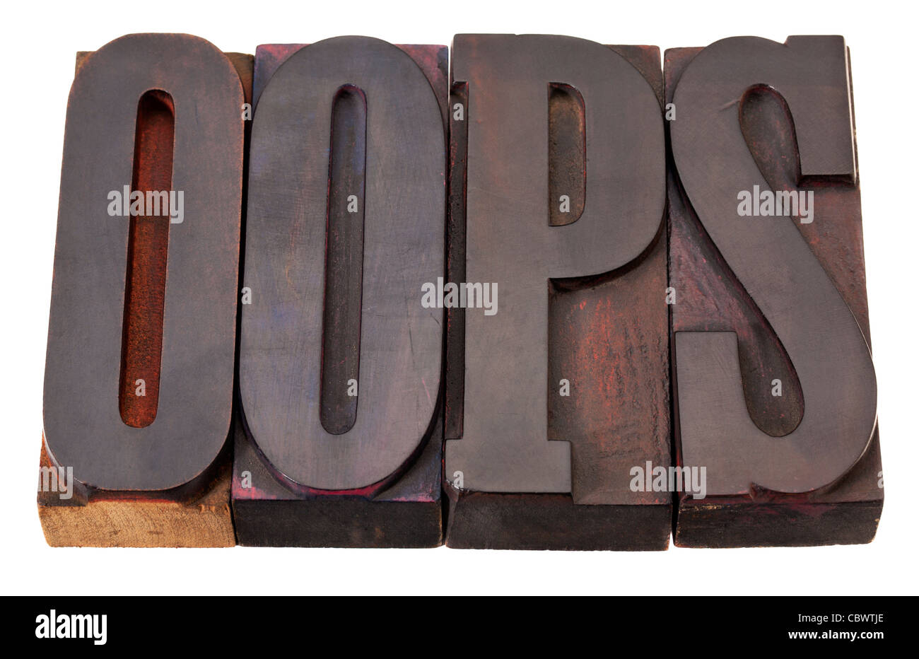 oops exclamation word in vintage wooden letterpress printing blocks isolated on white - Stock Image