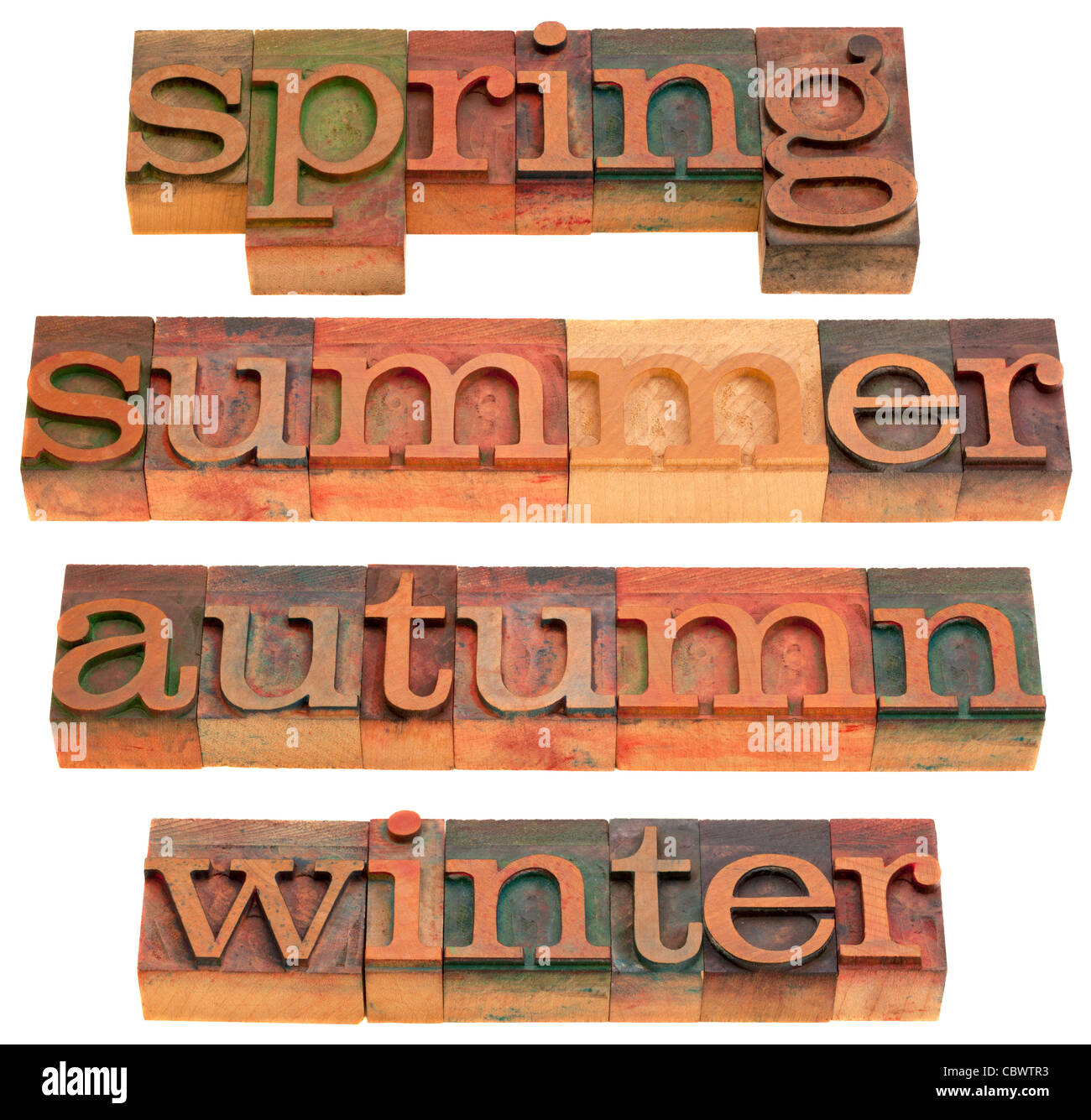 four seasons (spring, summer, autumn and winter) in vintage wooden letterpress printing blocks isolated on white - Stock Image