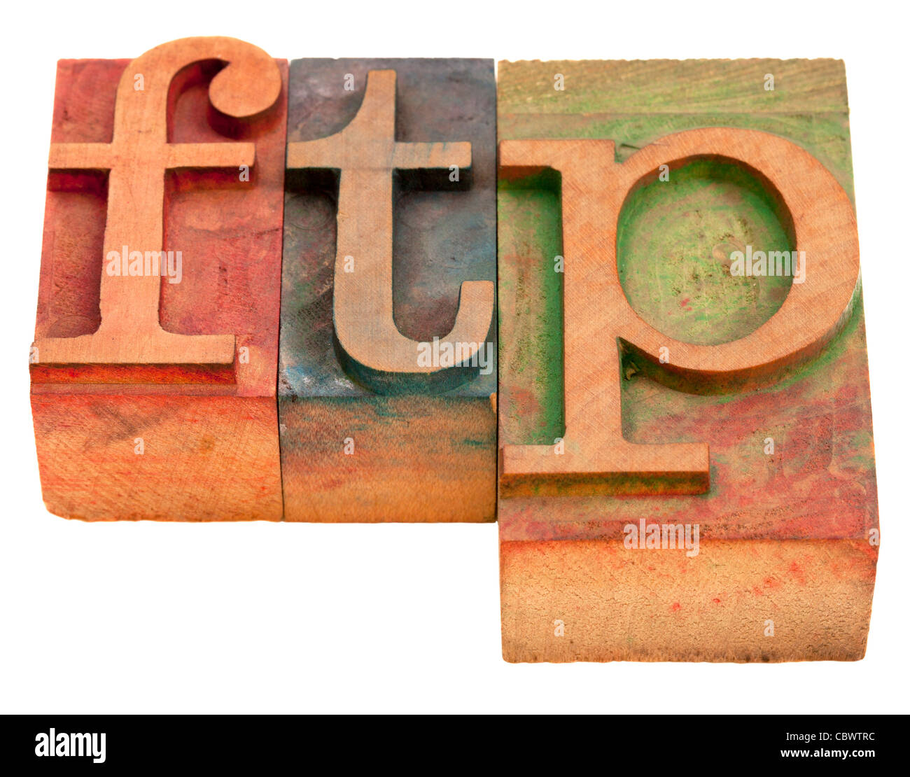 ftp (file transfer protocol) - word in vintage wooden letterpress printing blocks isolated on white - Stock Image