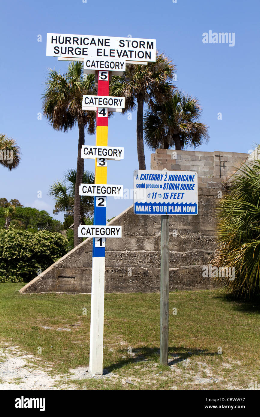 Hurricane storm surge elevation category gauge is erected on a barrier island. - Stock Image