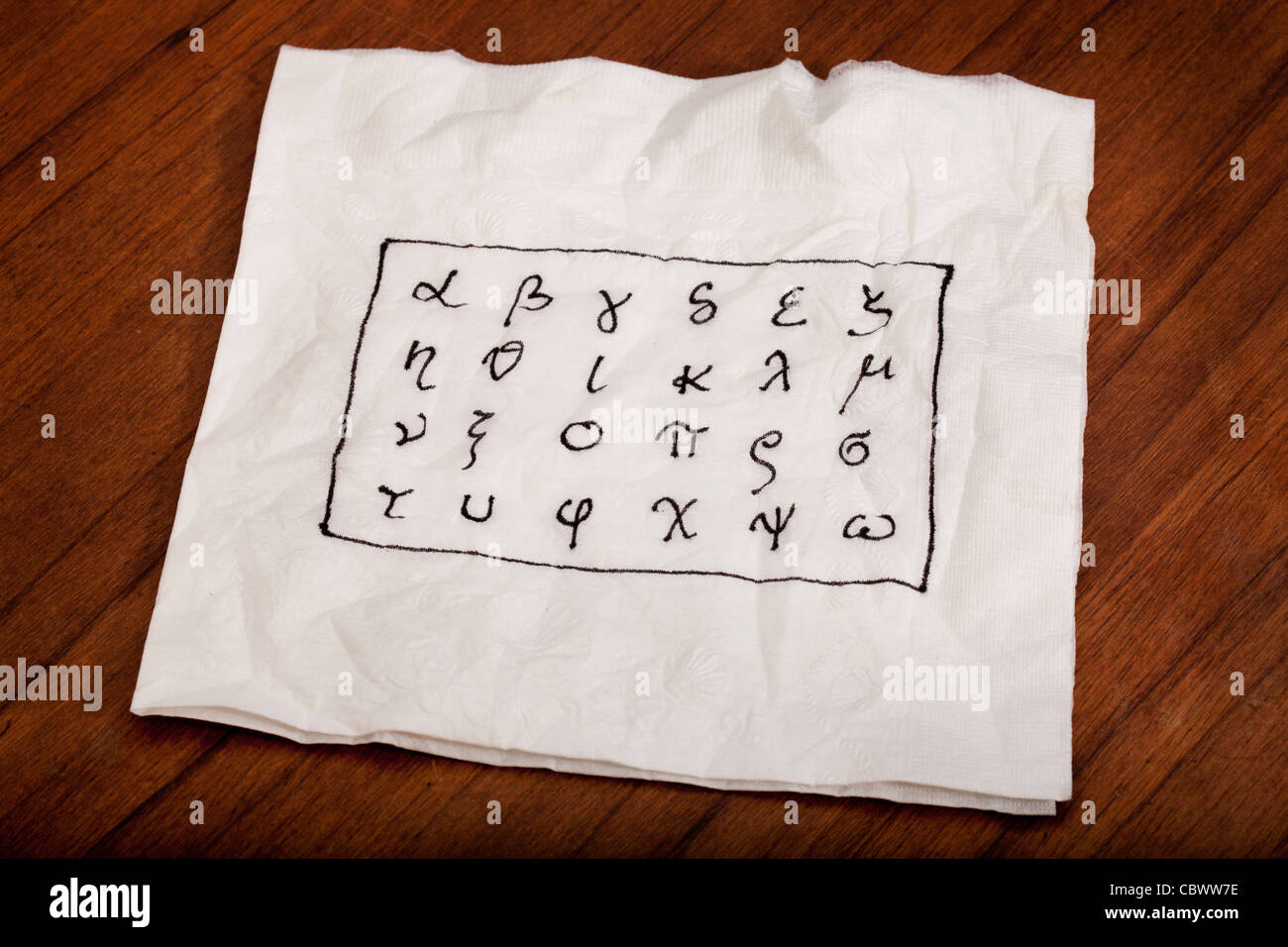 twenty four letters of Greek alphabet from alpha to omega (in lower case) handwritten on a white napkin - Stock Image
