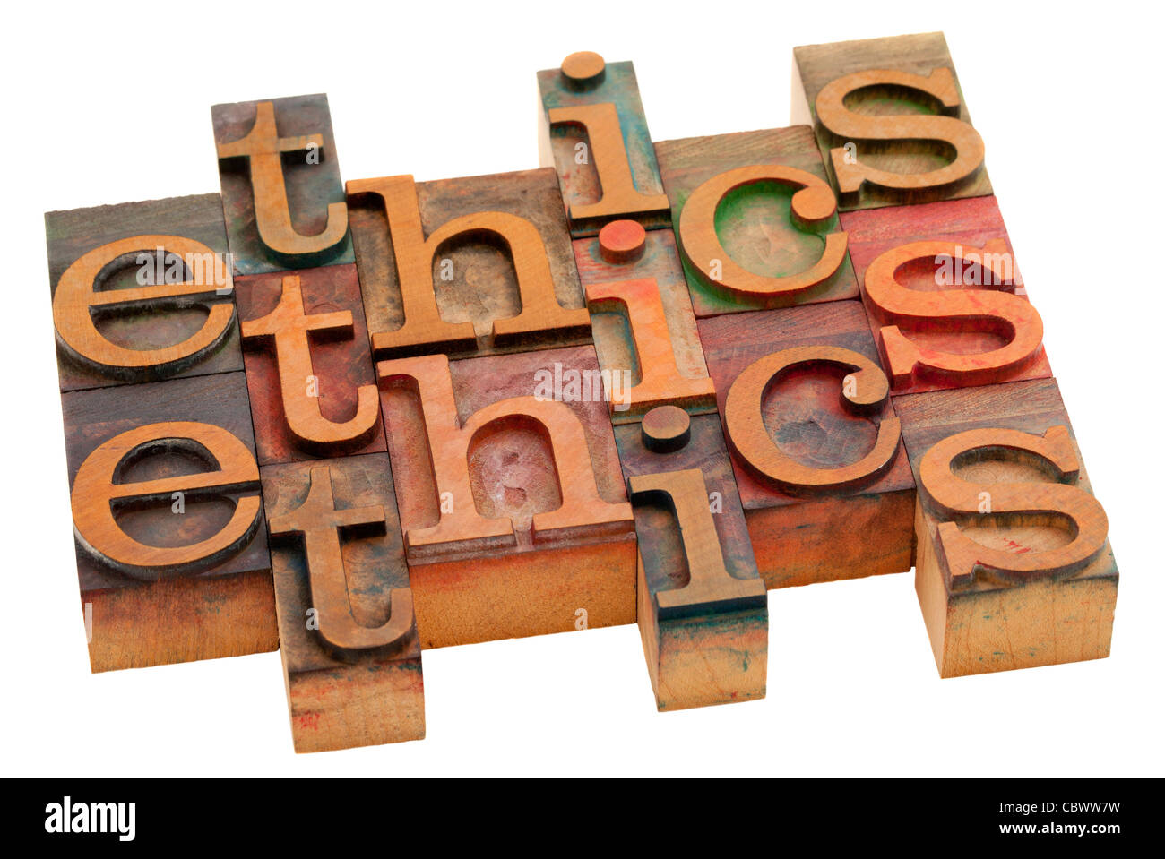 ethics word abstract - vintage wooden letterpress printing blocks isolated on white - Stock Image