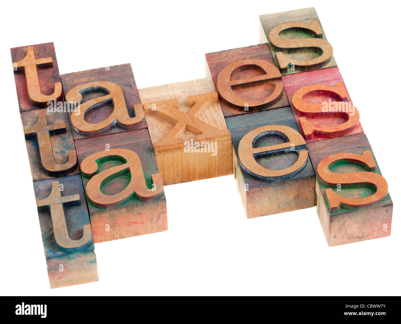 taxes word abstract in vintage wooden letterpress printing blocks isolated on white - Stock Image