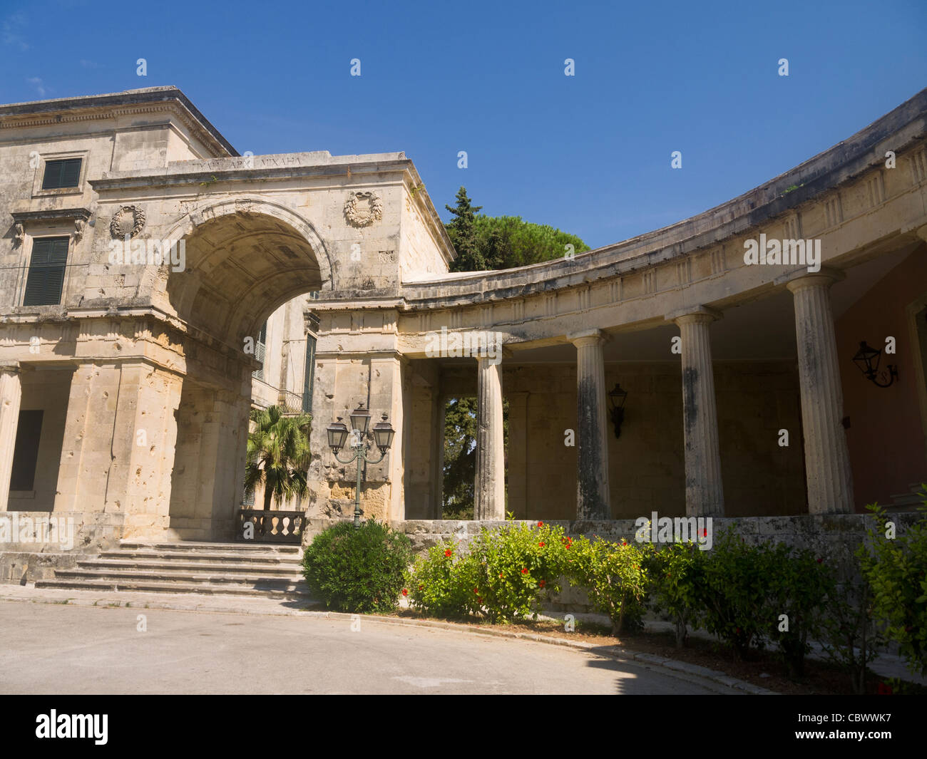 Former British Government buildings now museums  in Corfu town Ionian Islands Greece - Stock Image