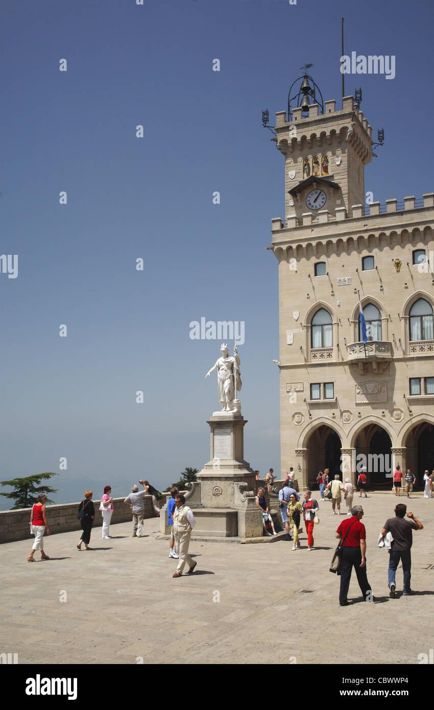 Piazza della Liberta  (Liberty square) in San Marino - Stock Image