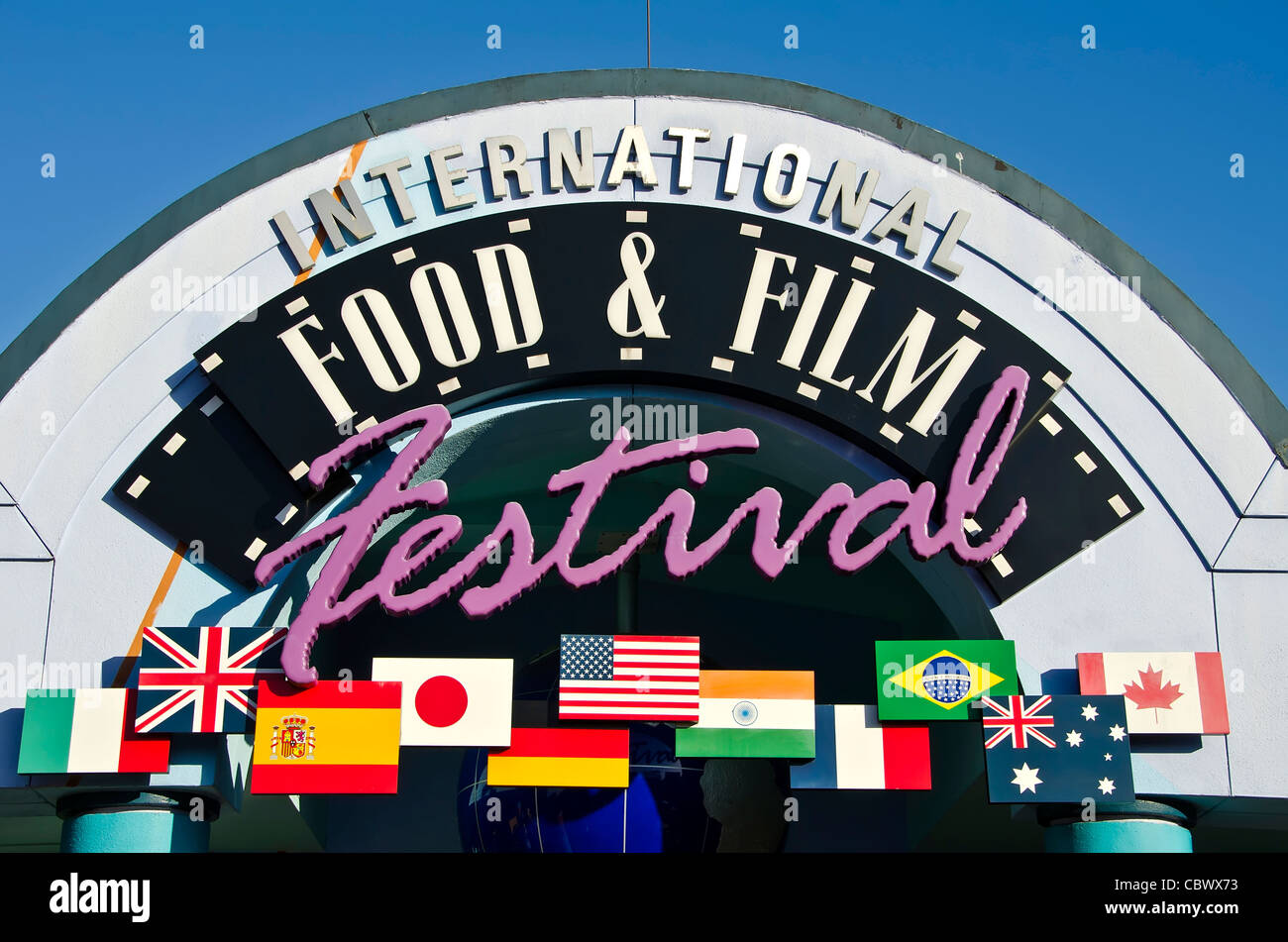 International Food & Film Festival cafeteria-style restaurant sign at Universal Studios Orlando Florida - Stock Image