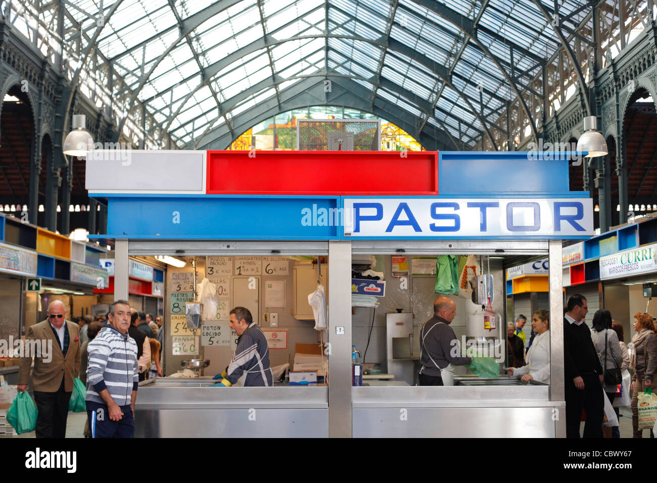 Buyers and sellers in Atarazanas market in Malaga, Spain - Stock Image