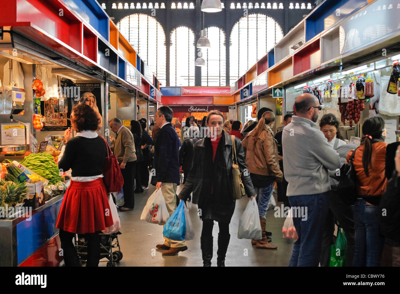 Buyers in Atarazanas market in Malaga, Spain - Stock Image