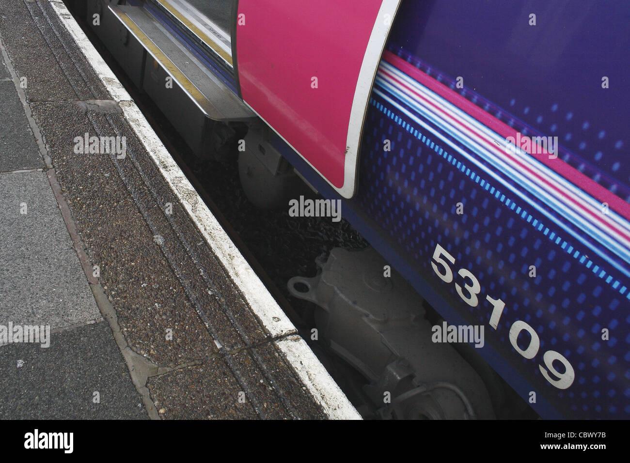 northern rail train at blackpool train station Blackpool, Lancashire, England, UK - Stock Image