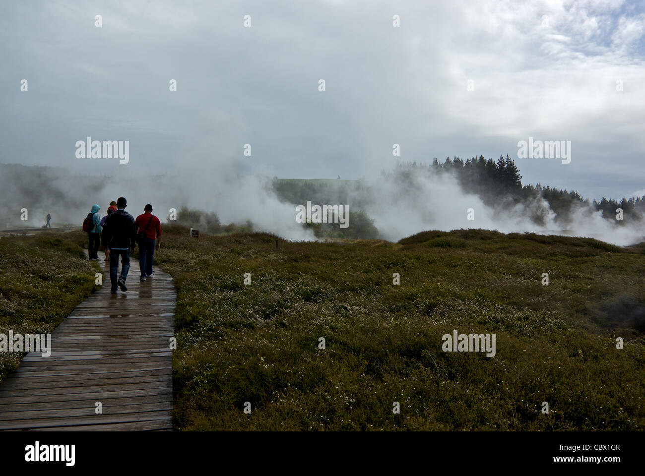 Visitors on wooden walkway Craters of the Moon geothermal steam vents Lake Taupo New Zealand - Stock Image