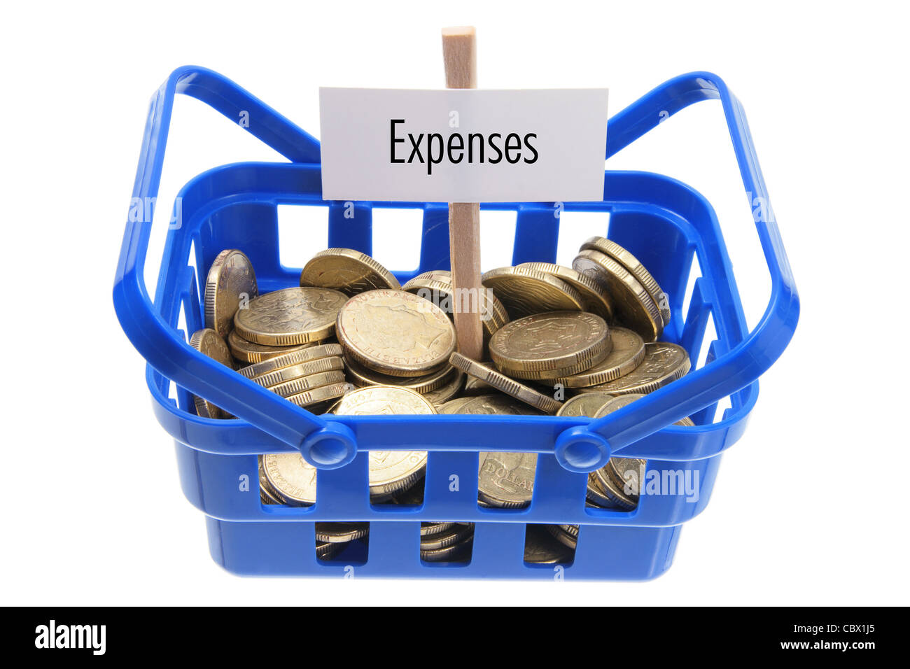 Basket with Coins Stock Photo