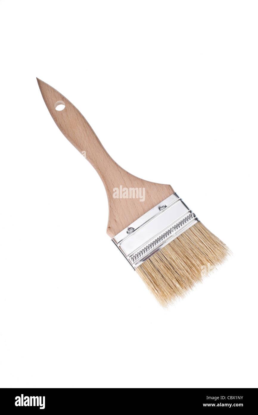 unused paint brush isolated on white - Stock Image