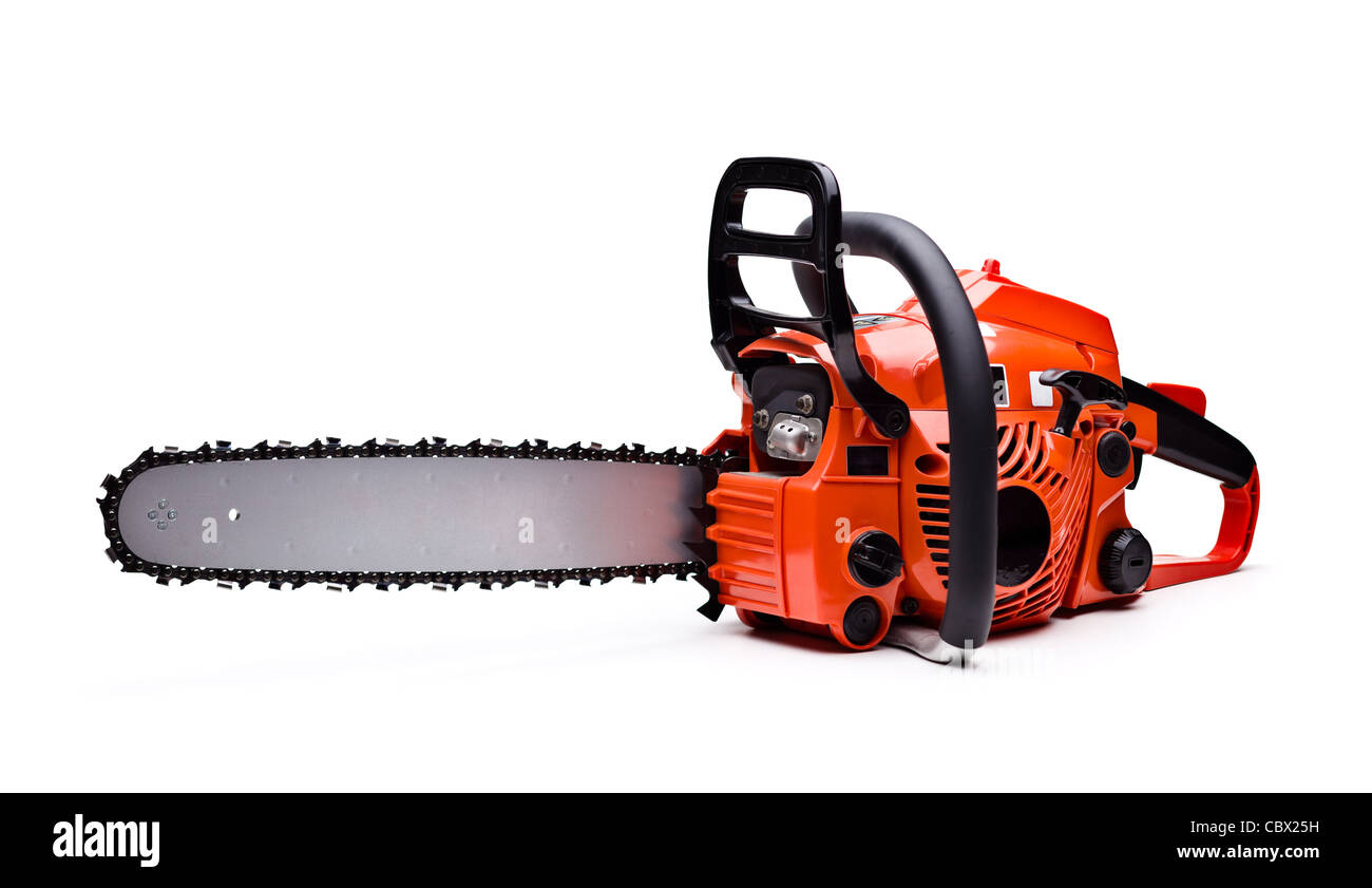 New red chainsaw isolated on white. Stock Photo