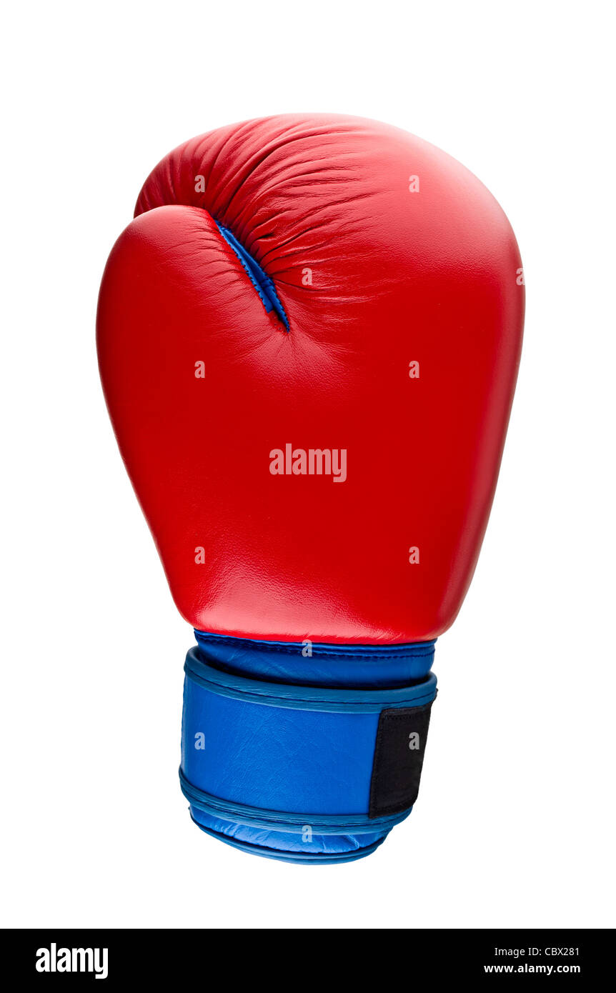 Red boxing gloves on white - Stock Image