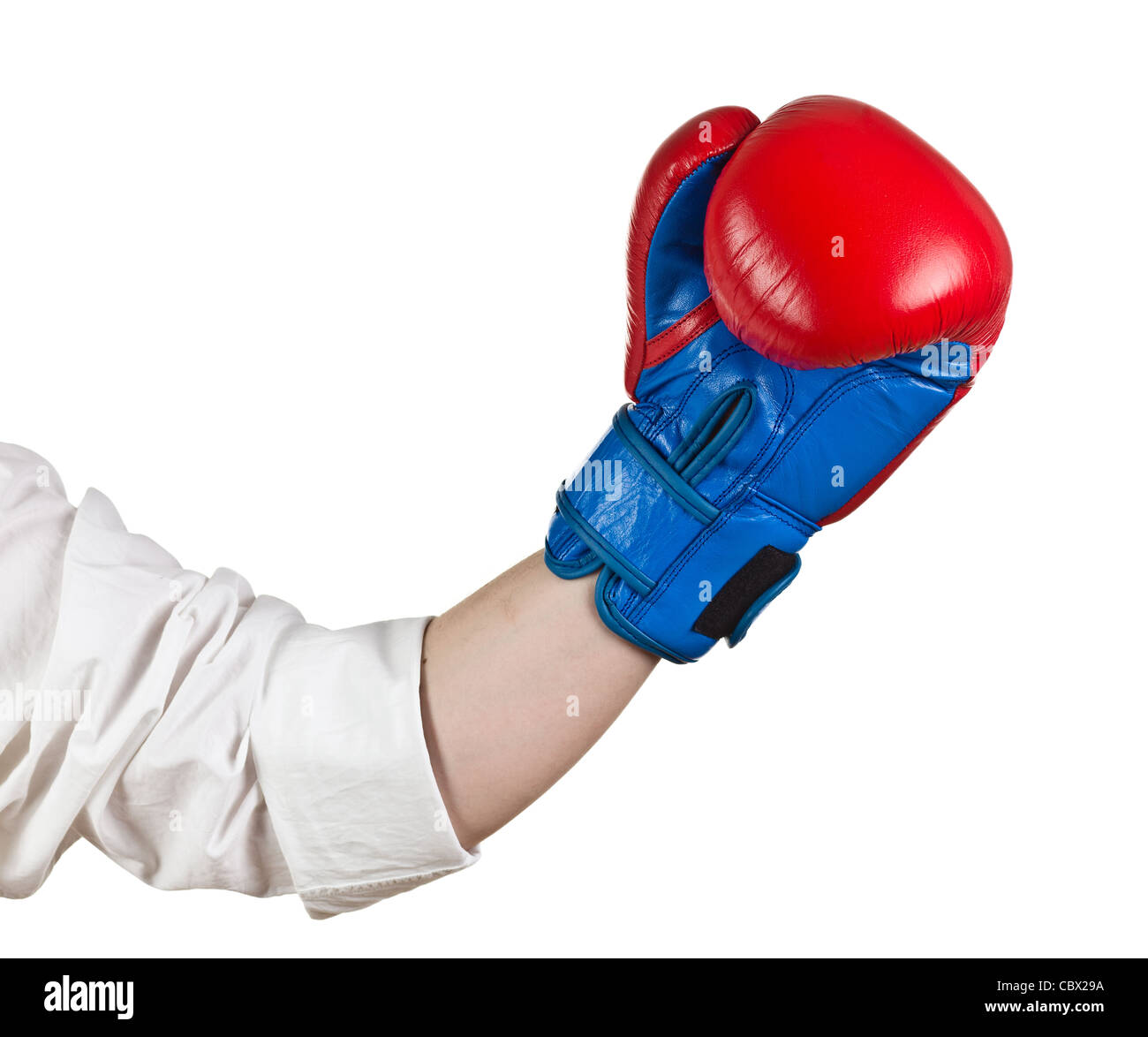 Hand with Boxing Gloves on white - Stock Image
